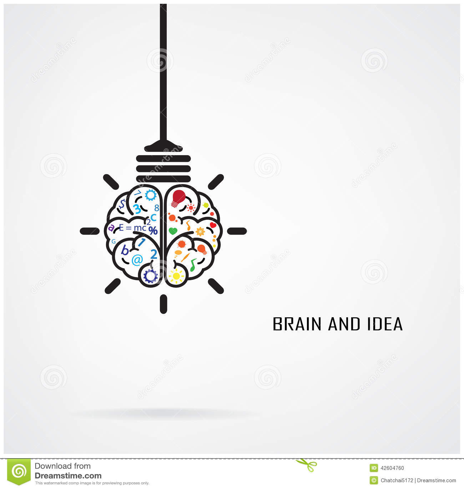 creative brain idea and light bulb concept design for poster flyer