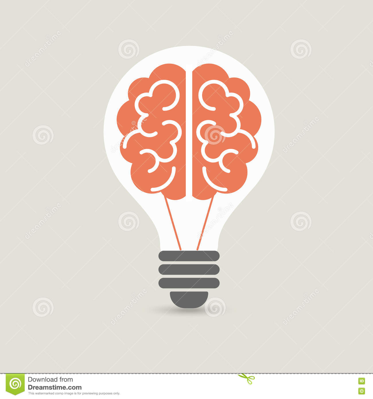 Creative Brain Idea And Light Bulb Concept, Design For ...
