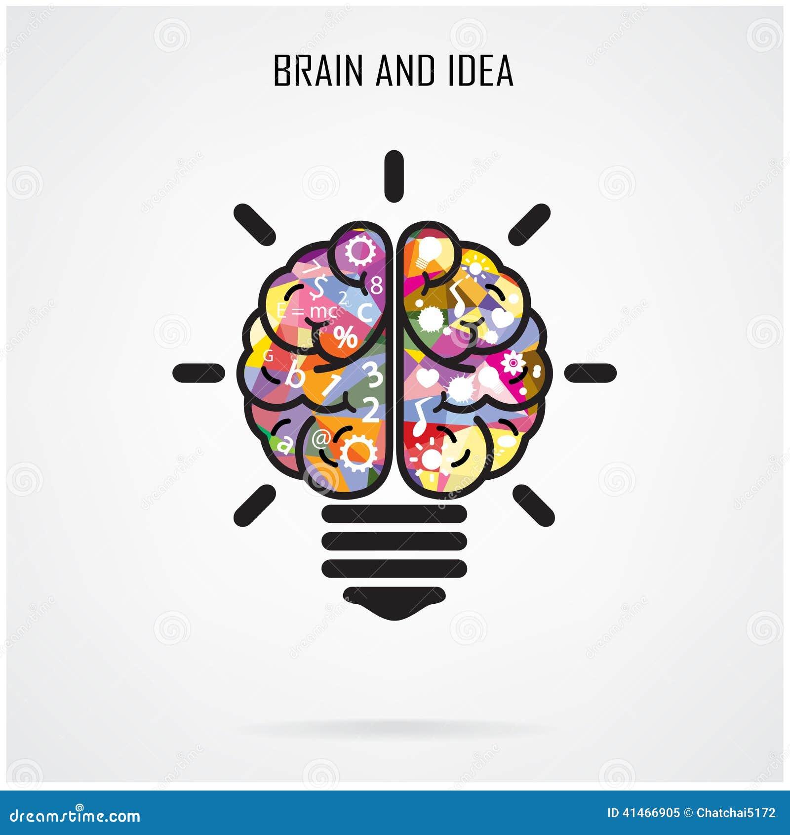 creative brain idea and light bulb concept education concept stock