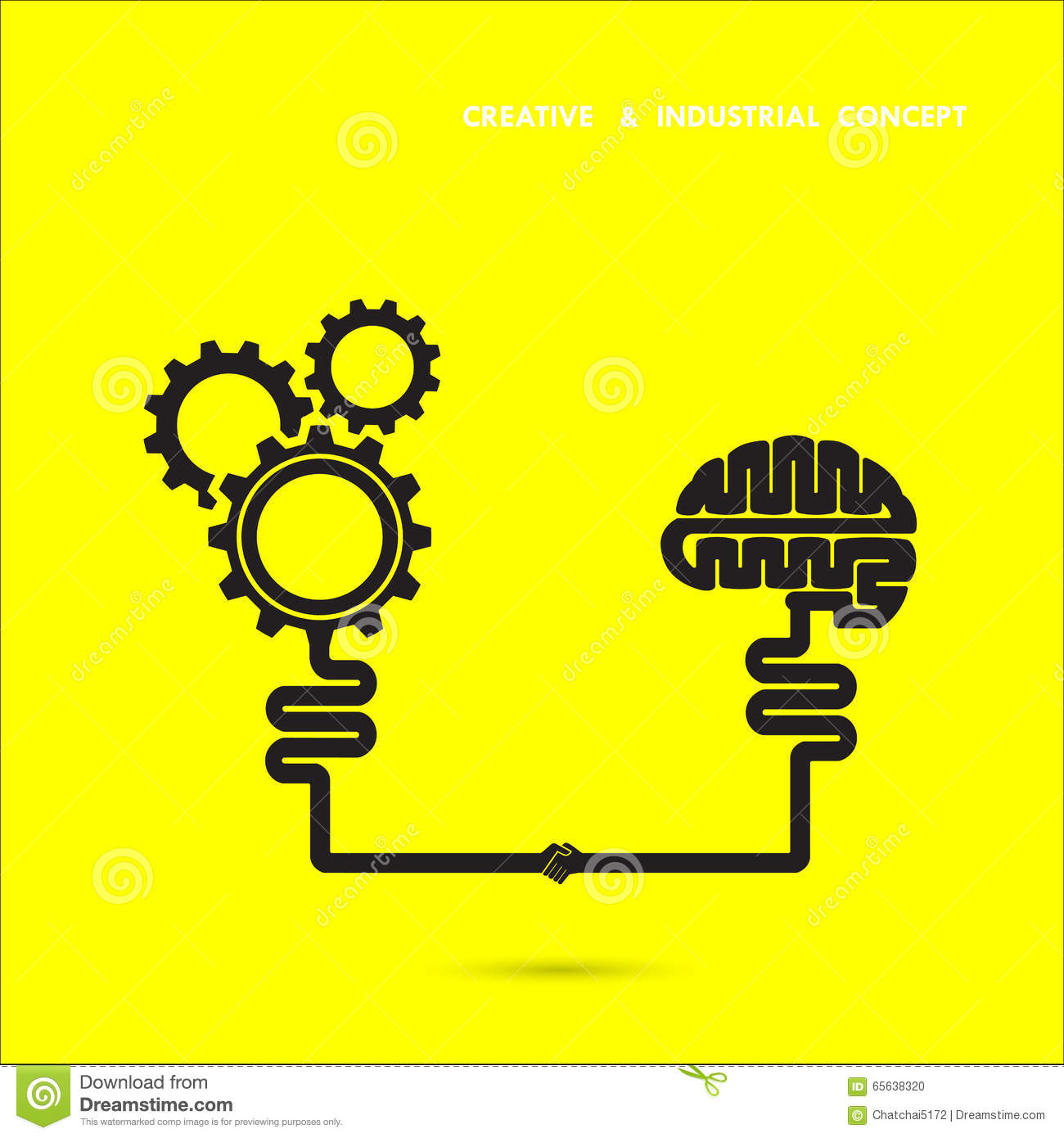 Creative brain and industrial concept brain and gear icon for Industrial design innovation