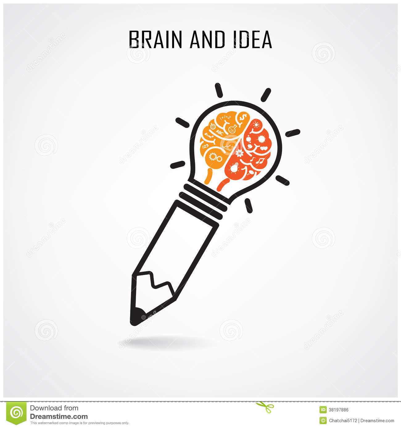 Creative Brain And Pencil Sign Stock Vector Image 38197886