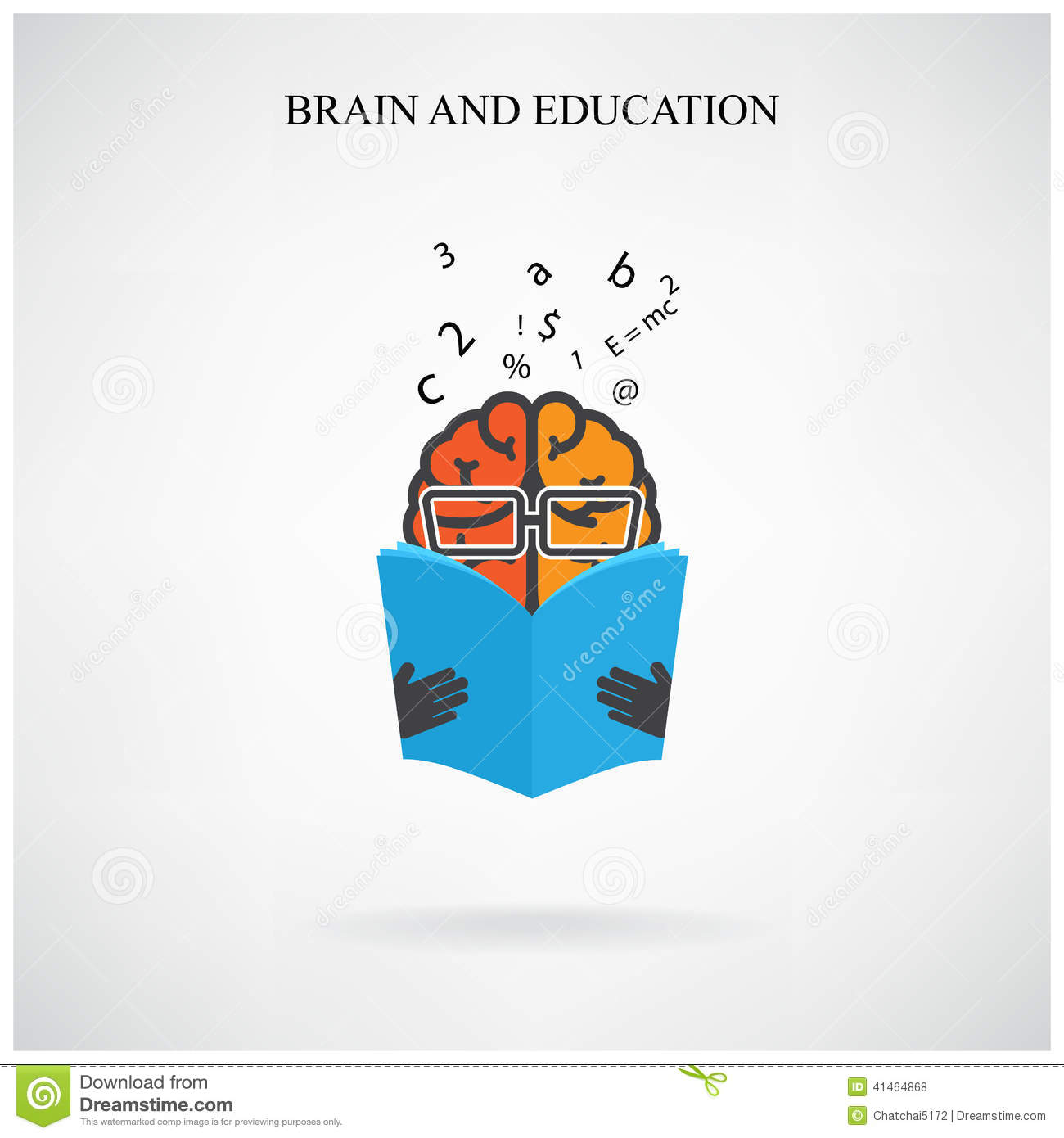 Creative Brain Sign And Book Symbol On Background Design