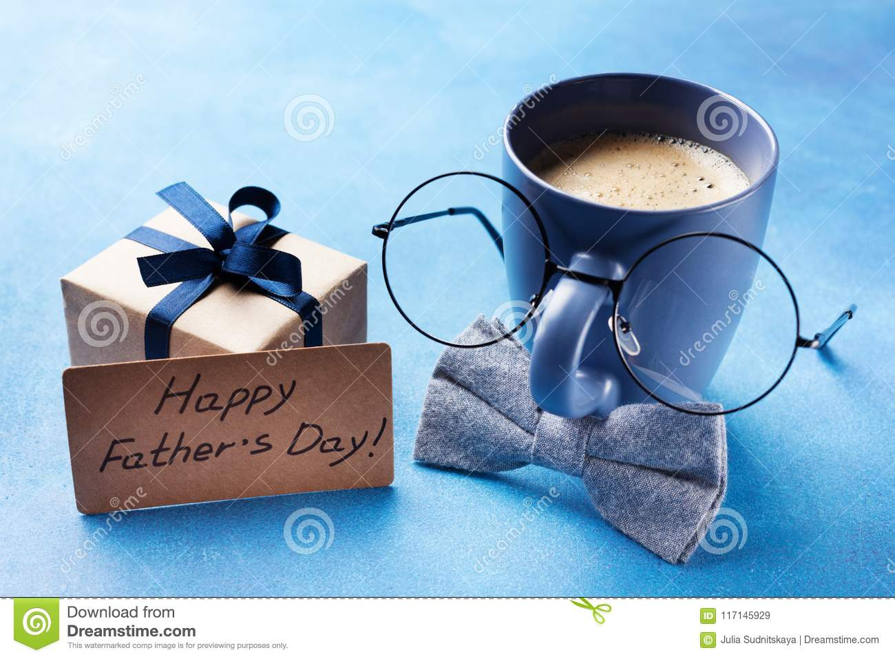 Creative Breakfast On Happy Fathers Day With Gift Box Funny Face From Cup Of Coffee Eyeglasses And Bowtie Stock Image Image Of Drink Cappuccino 117145929