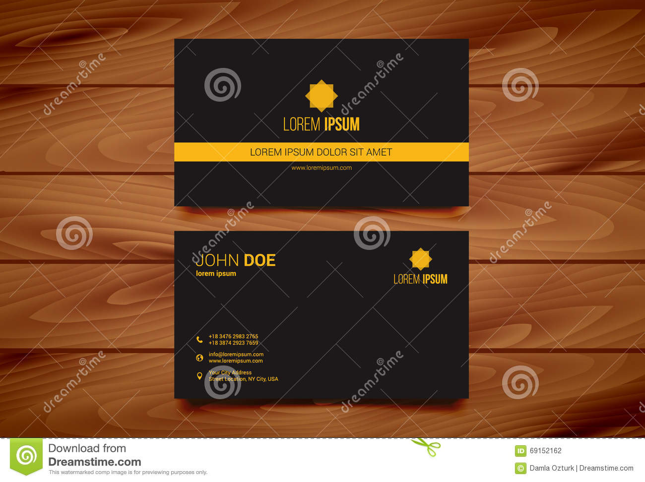 Creative business card design template with wooden background stock creative business card design template with wooden background reheart Image collections
