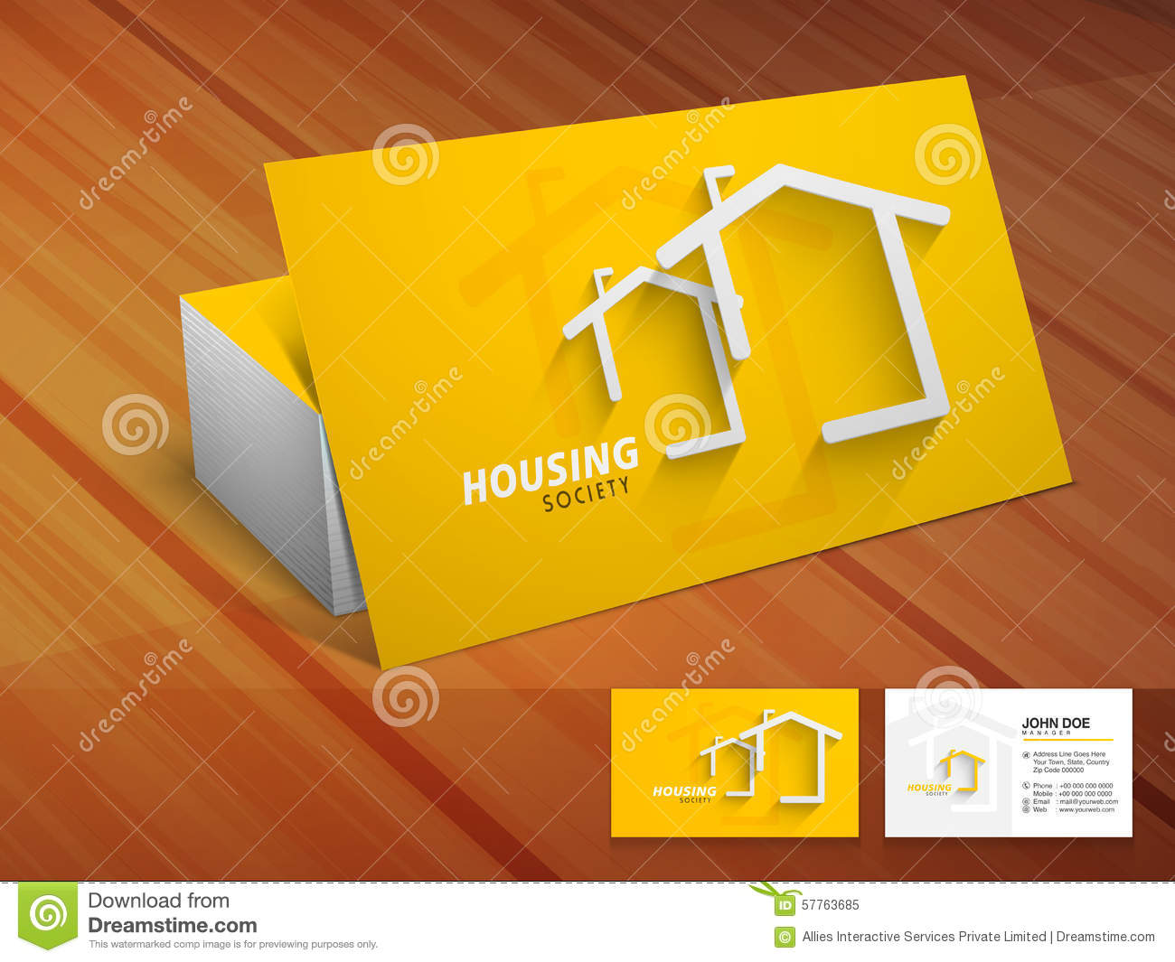 Creative Business Card For Housing Society Stock Photo
