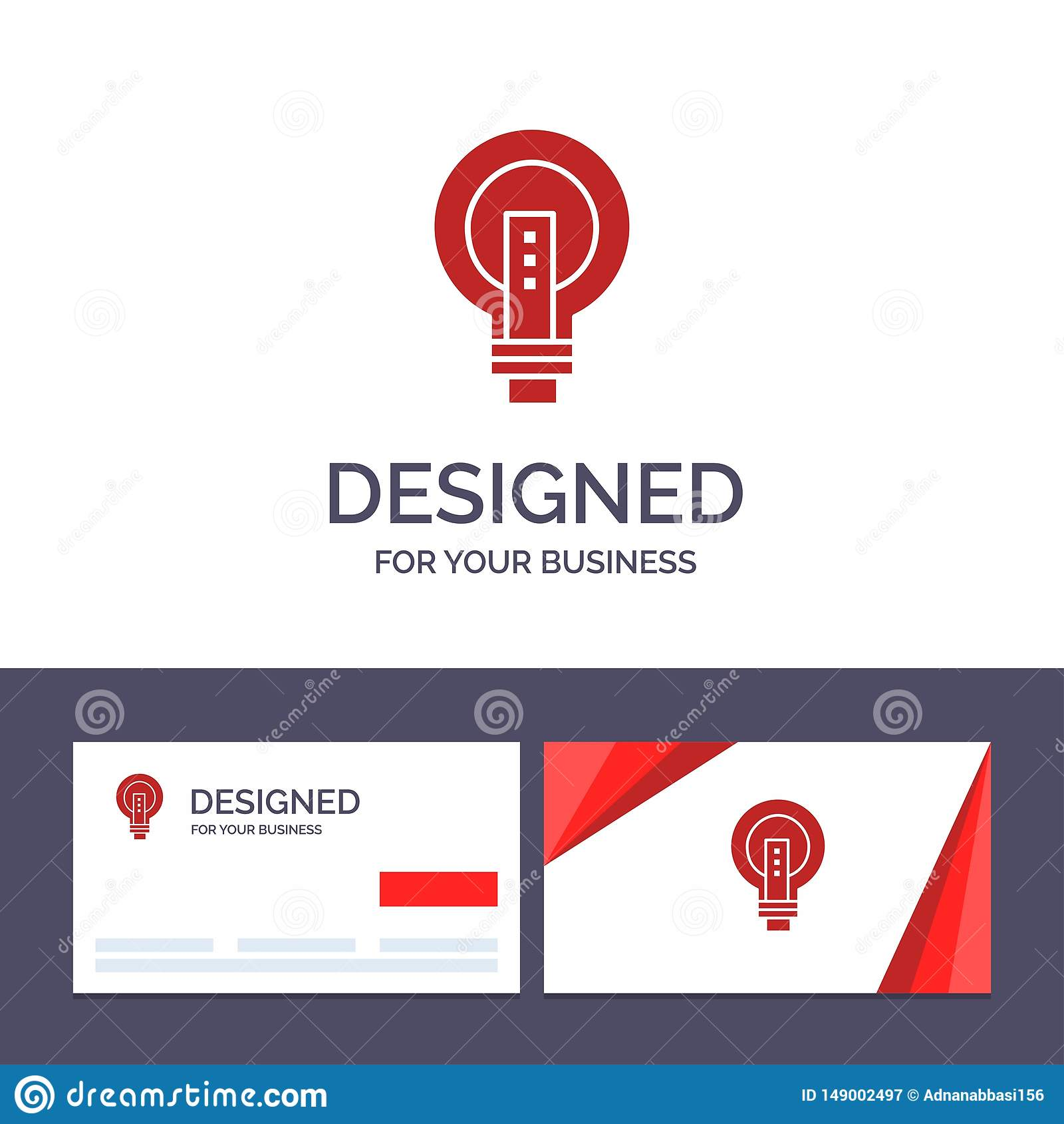 Creative Business Card and Logo template Bulb, Bright, Business, Idea, Light, Light bulb, Power Vector Illustration
