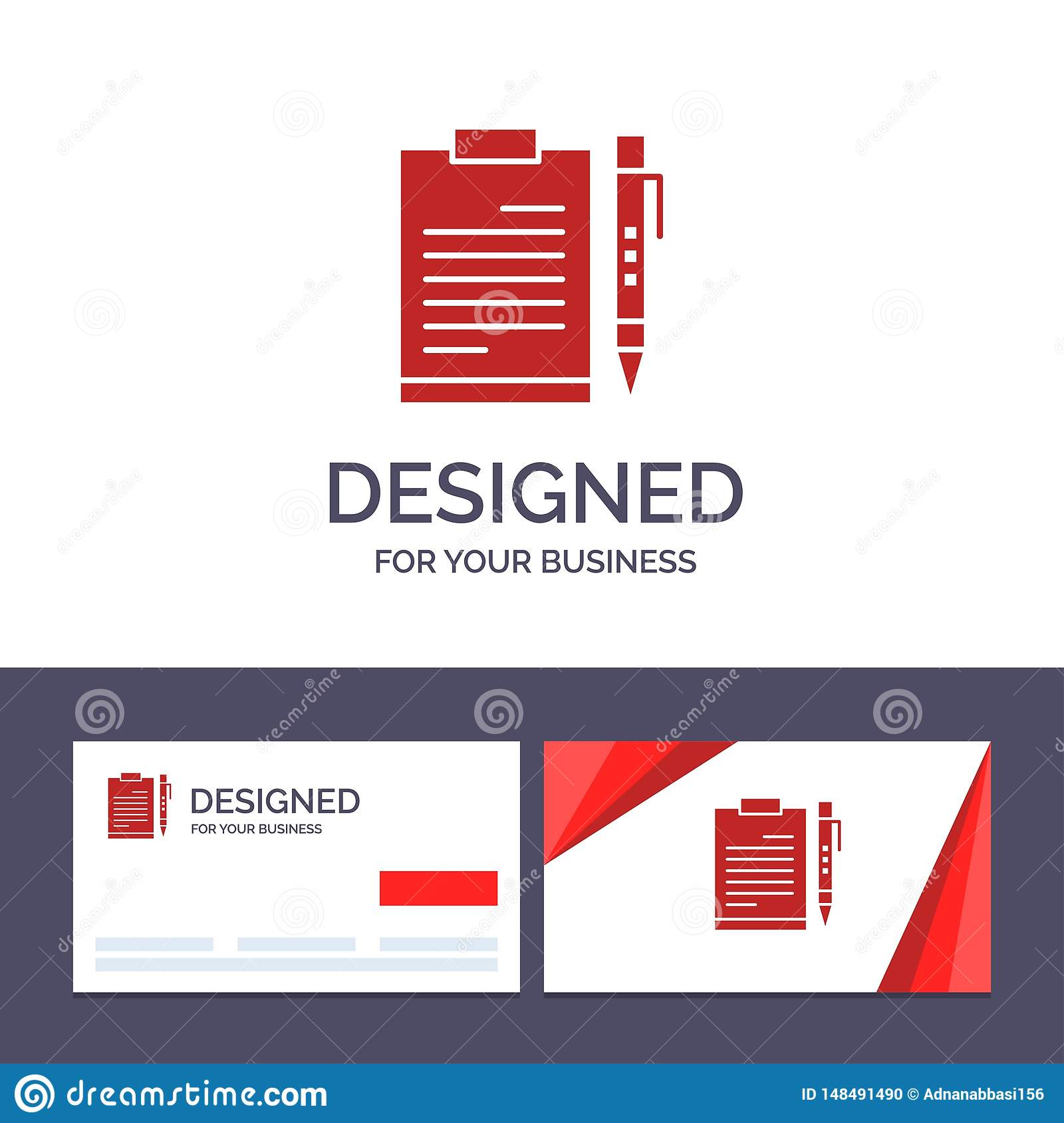 Creative Business Card and Logo template Document, Business, Clipboard, File, Page, Planning, Sheet Vector Illustration