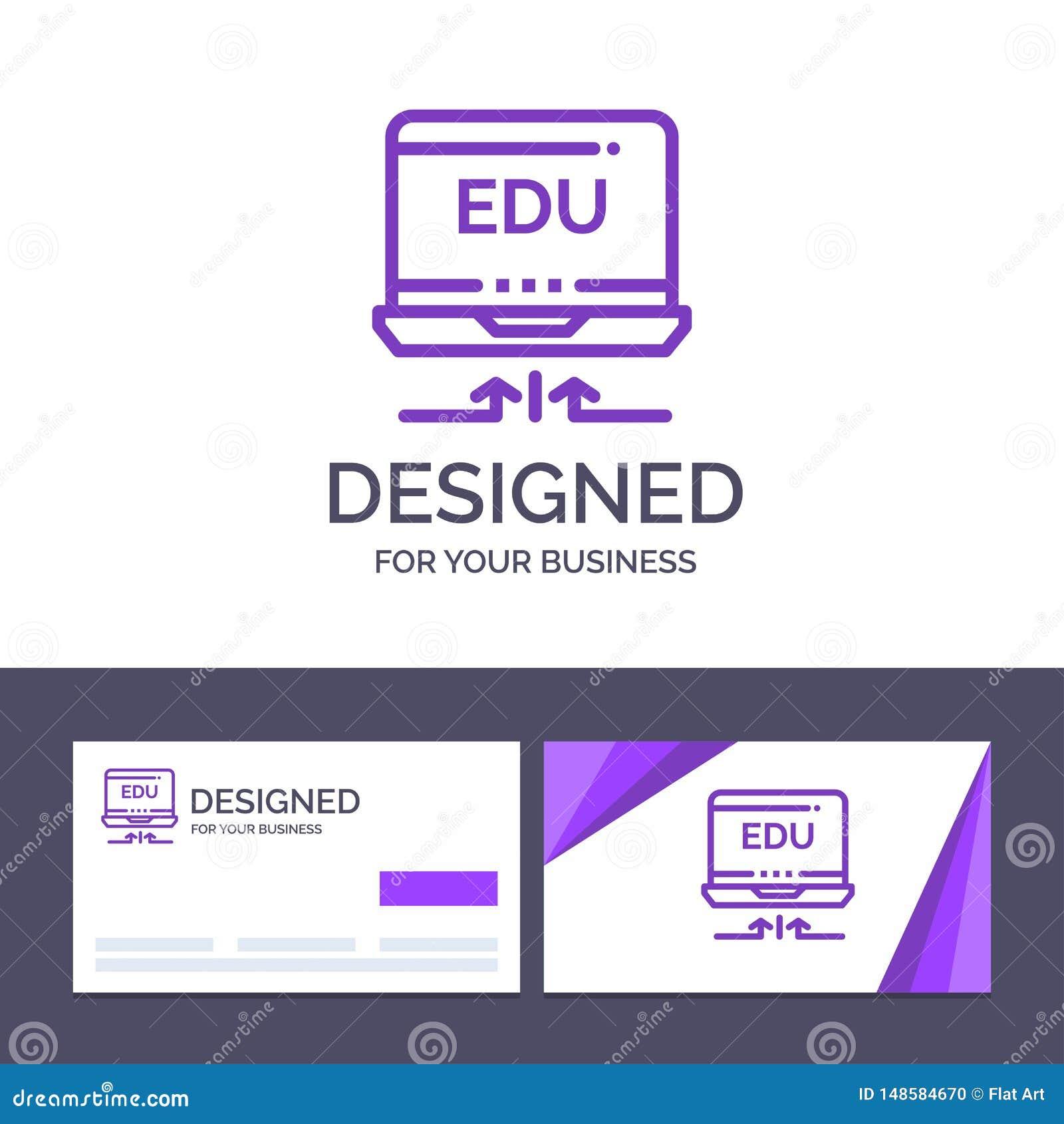 Creative Business Card and Logo template Laptop, Hardware, Arrow, Education Vector Illustration