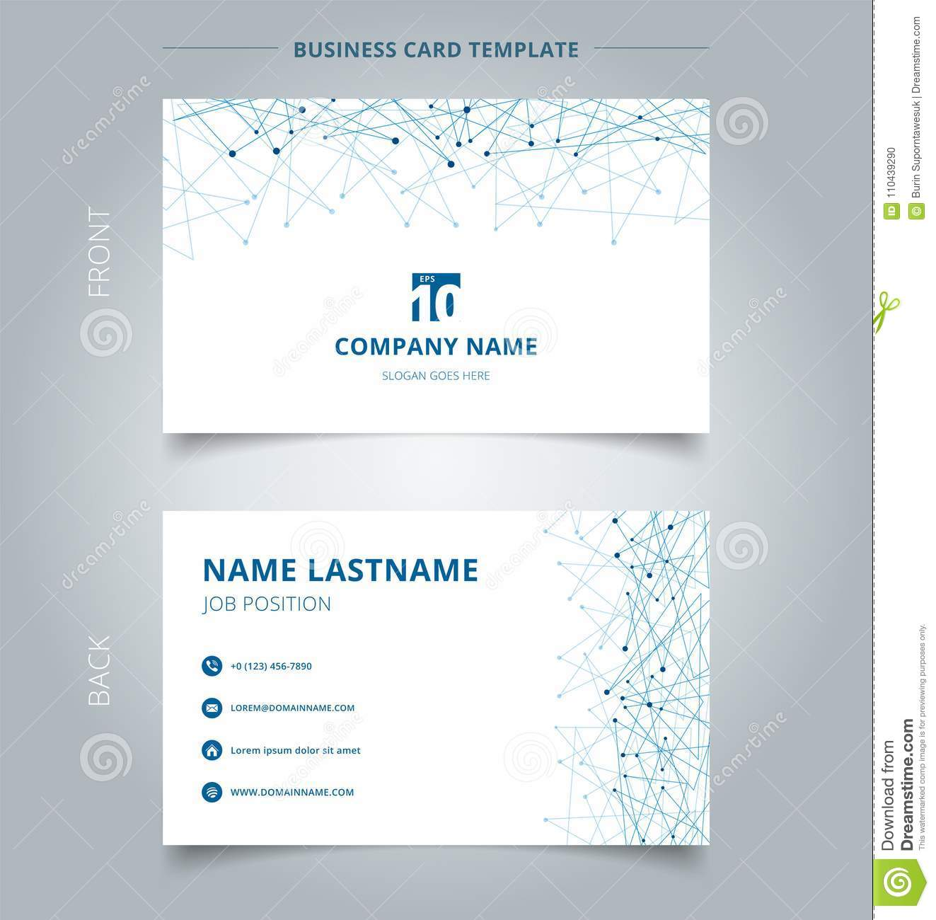 creative business card and name card template technology blue m