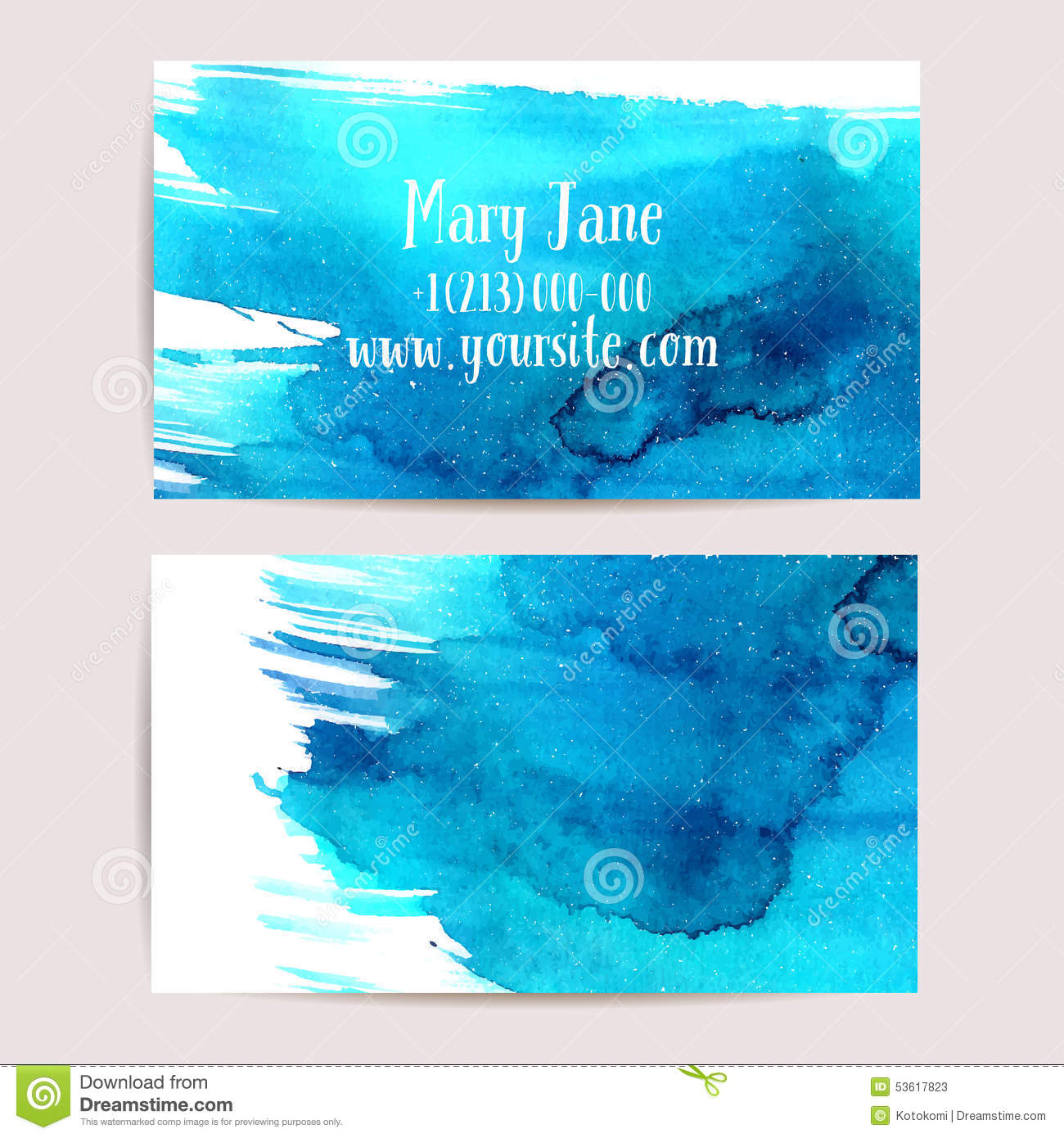 watercolor business card template stock vector  image: 49629121