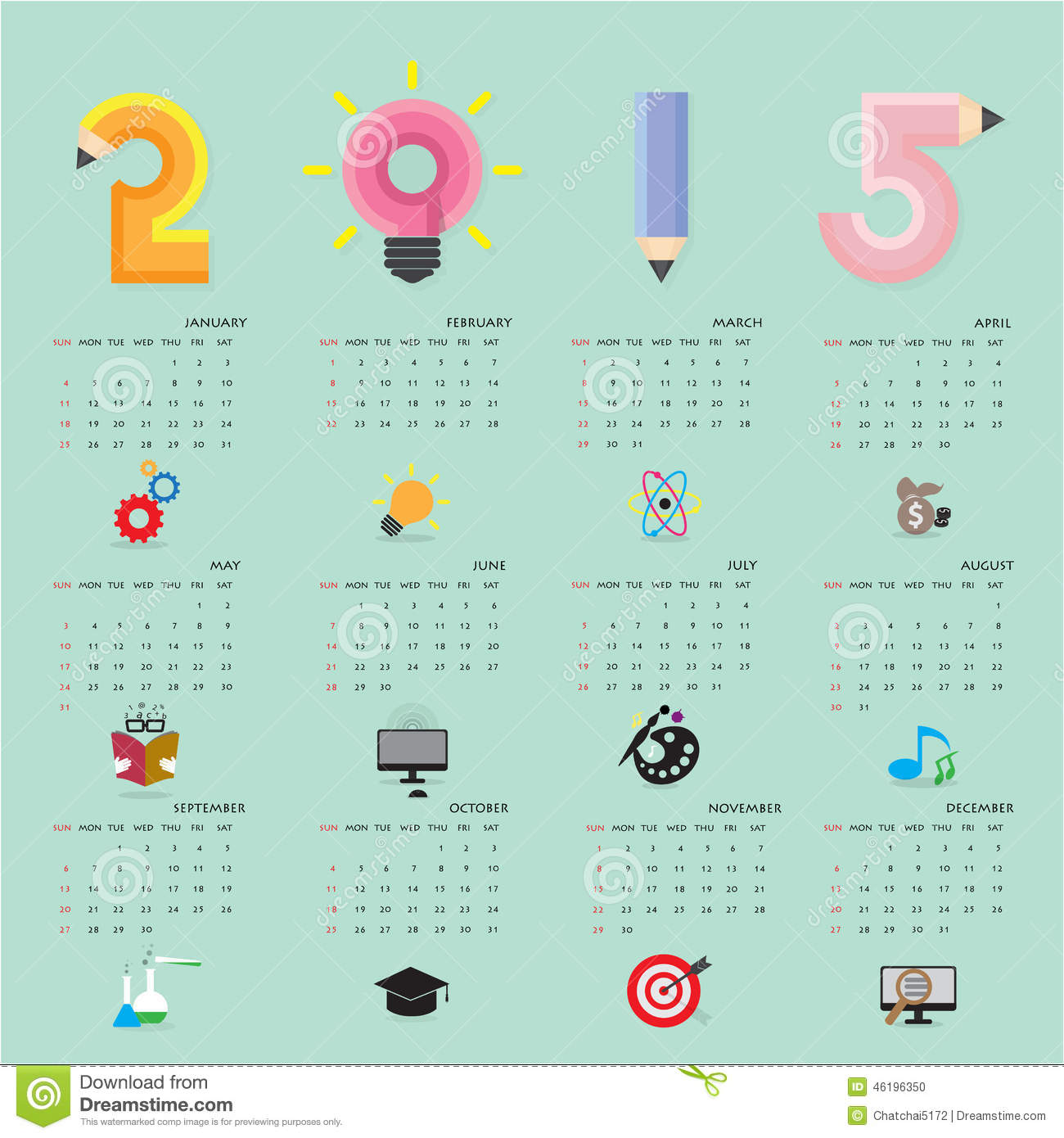 Illustration Calendar Design : Creative calendar design template with business or