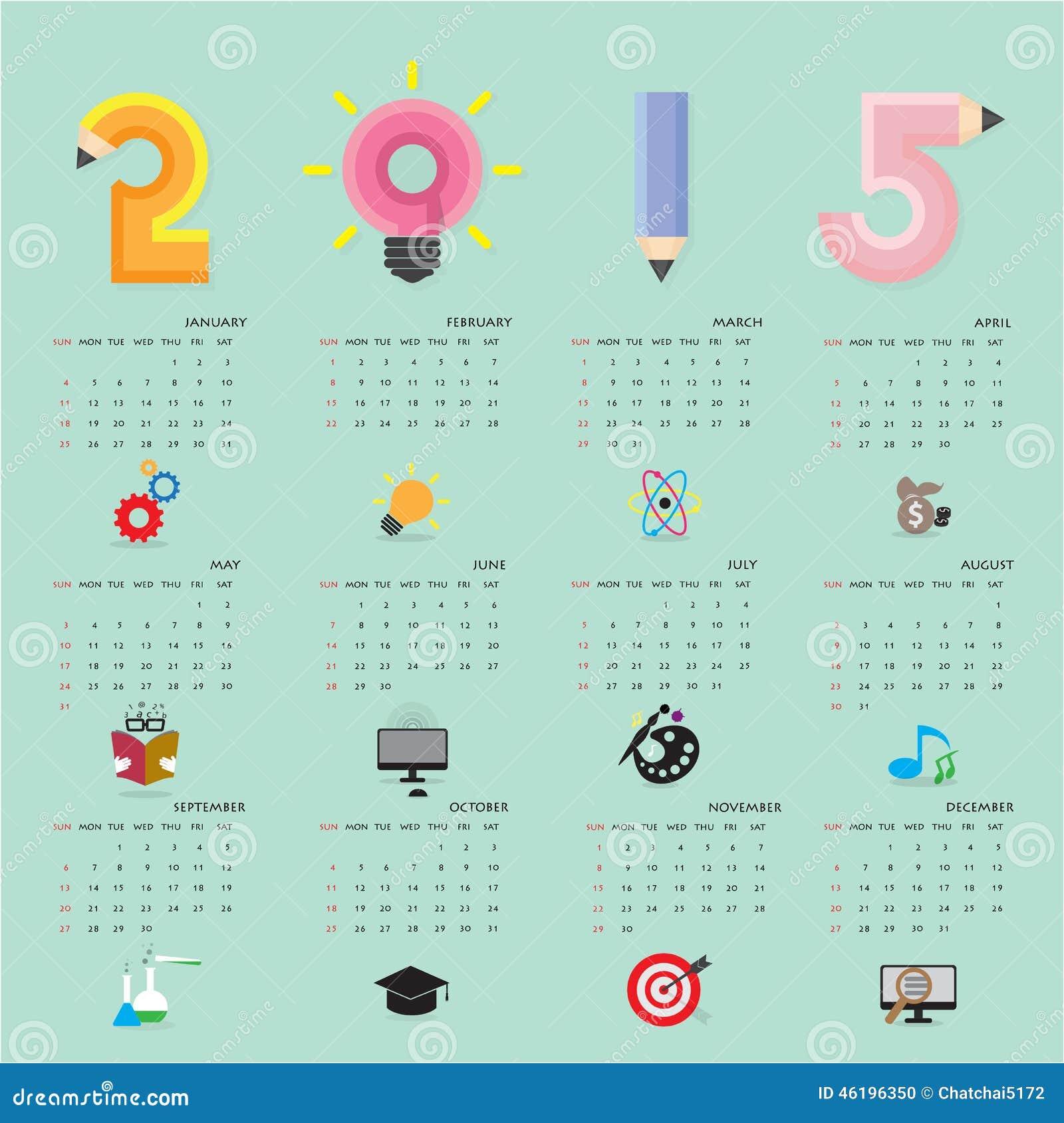 Creative Calendar 2015 Design Template With Business Or