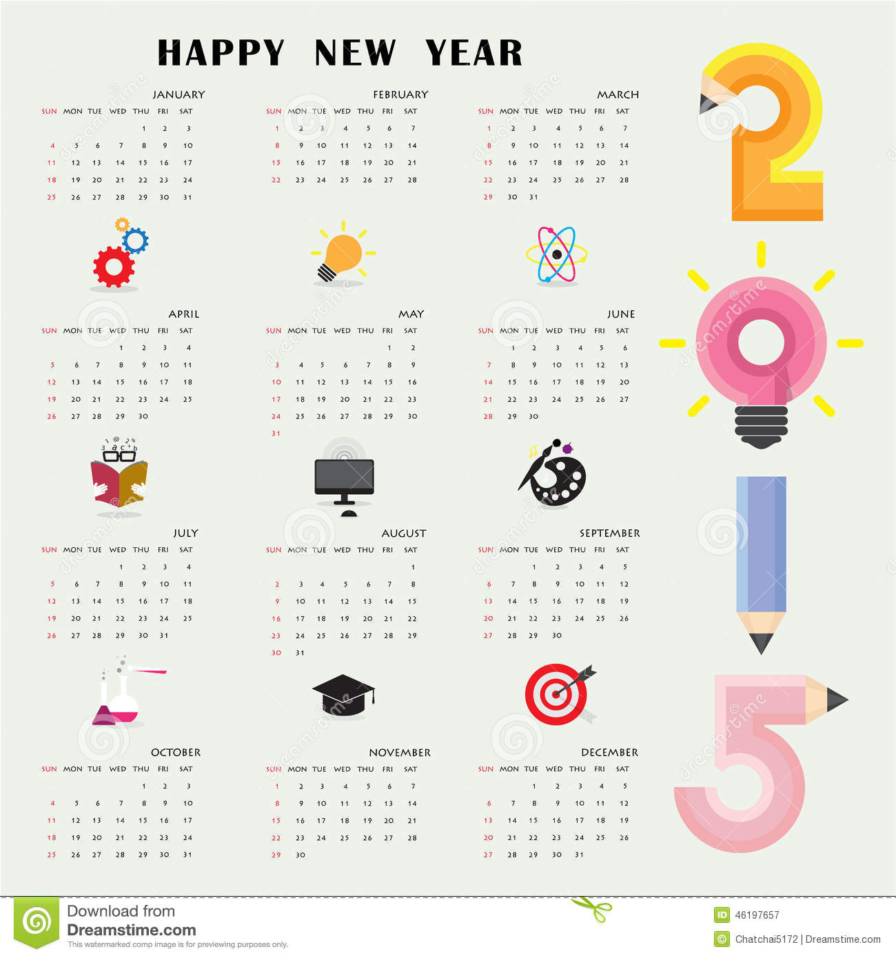 Creative Calendar 2015 Design Template With Business Or Educatio