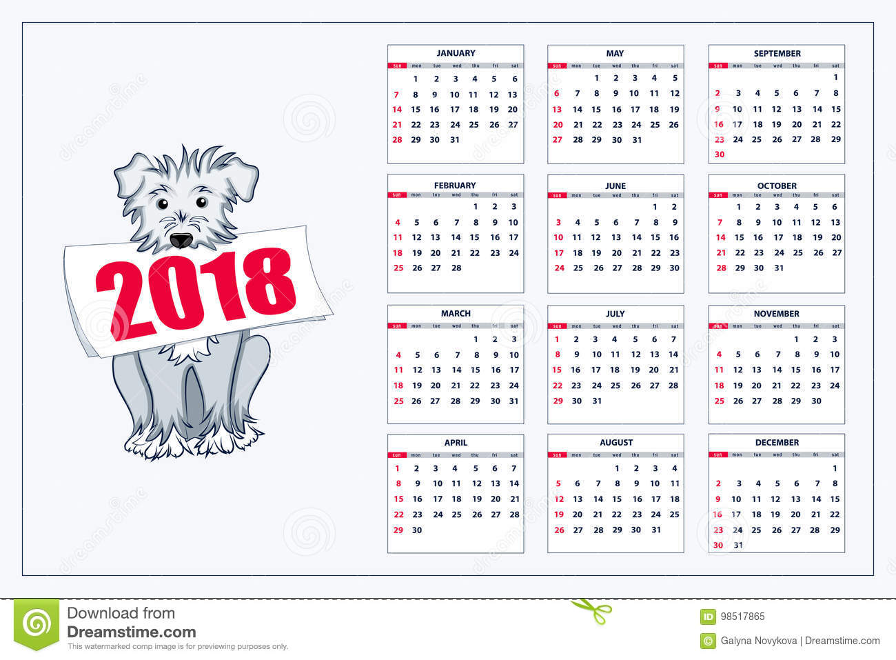 Calendario Con Week 2018.Creative Calendar With Drawn Blue Dog For Wall Year 2018