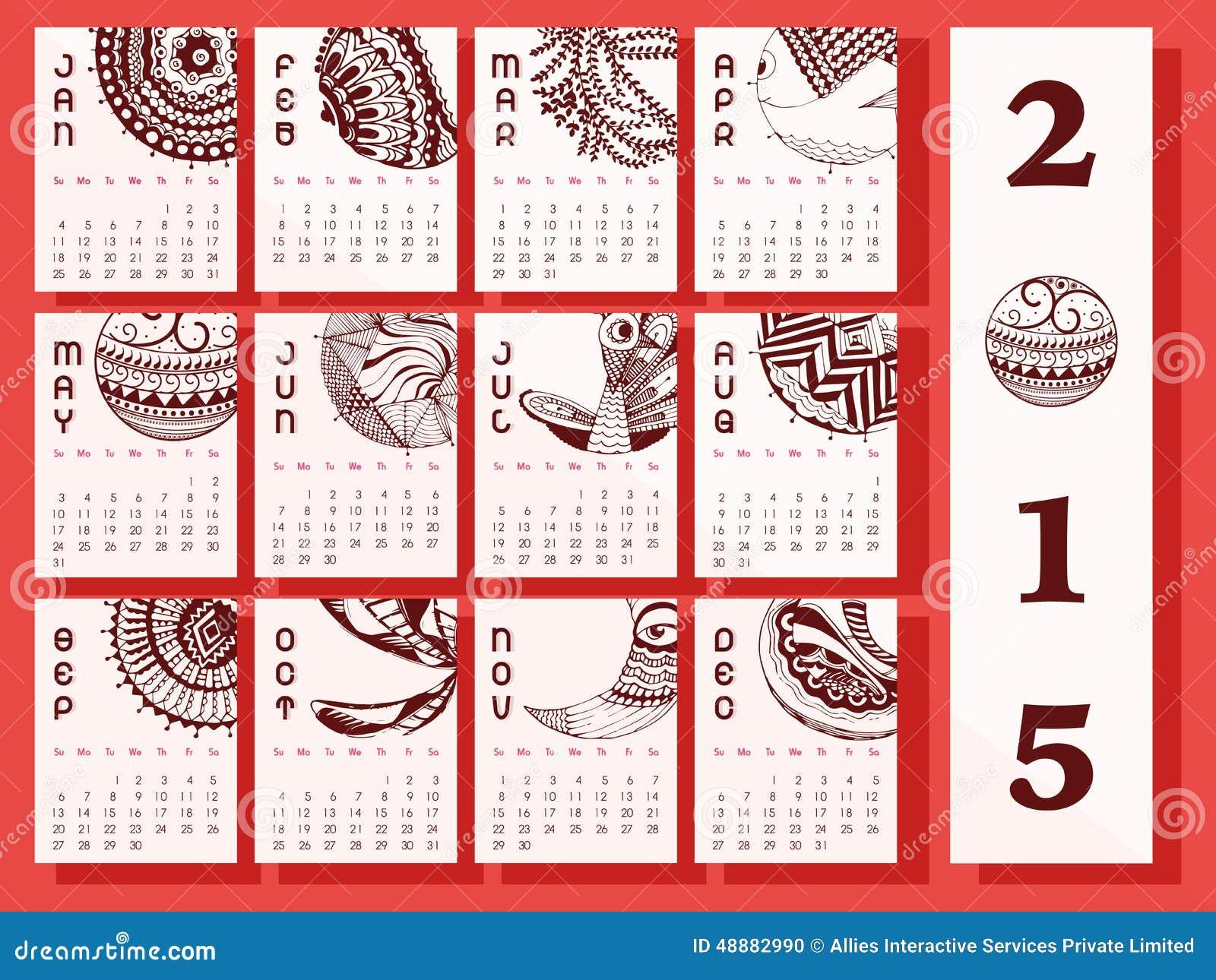 Creative Calendar Of New Year 2015. Stock Illustration ...