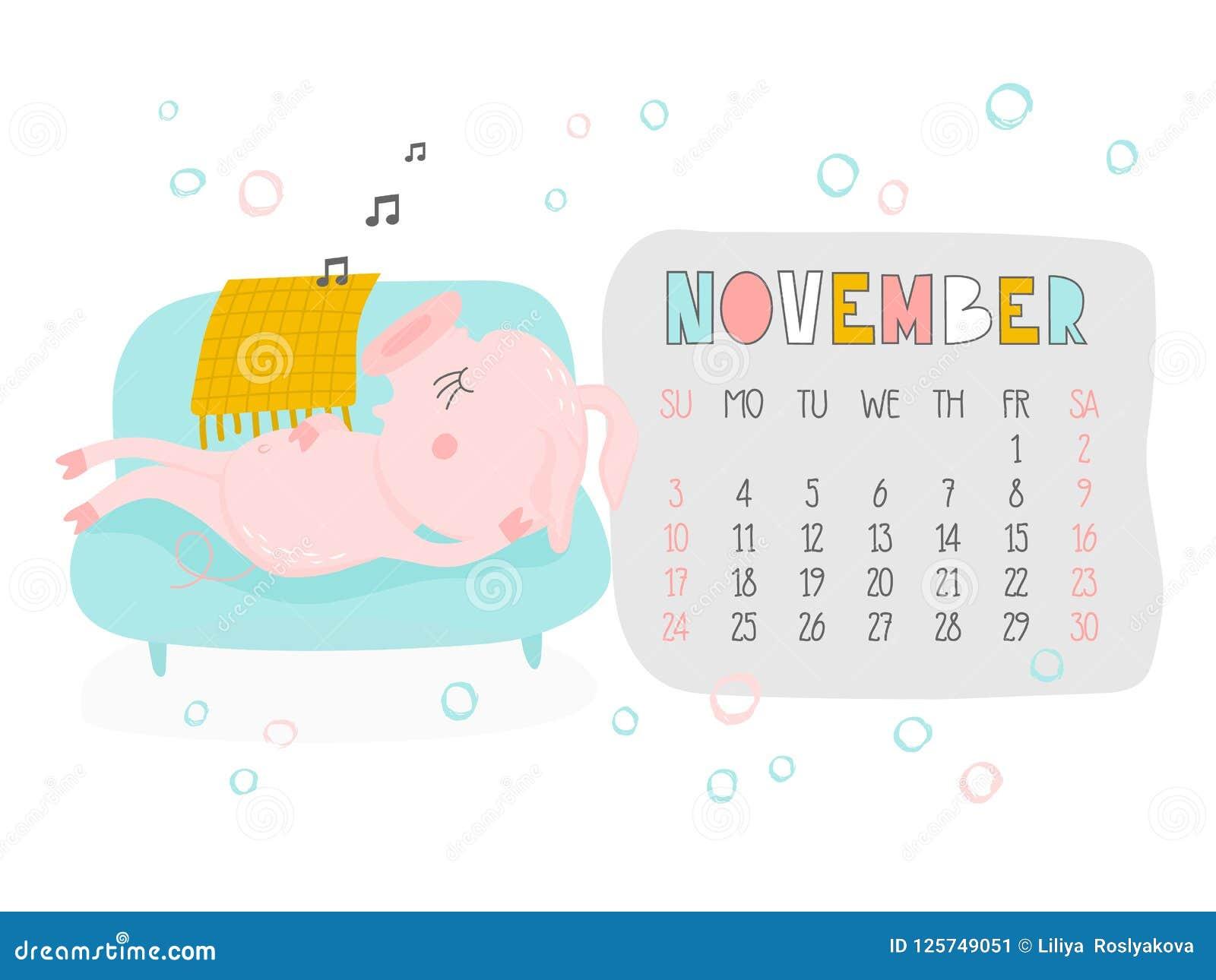 Creative Calendar For November 2019 With Cute Pig  Concept
