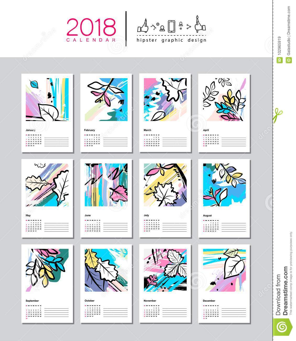 Creative Calendar Template from thumbs.dreamstime.com