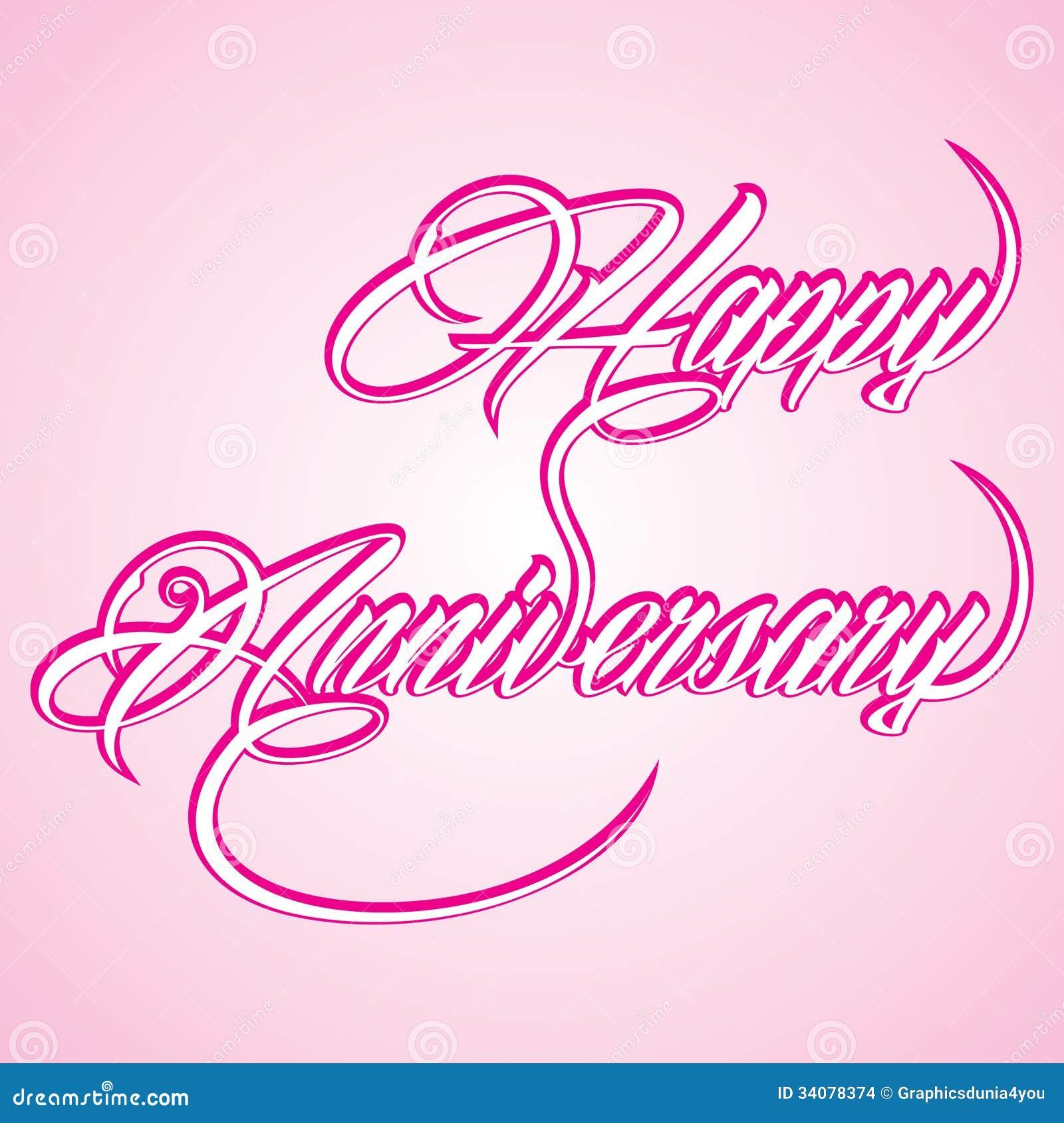 Creative Calligraphy Of Text Happy Anniversary Stock