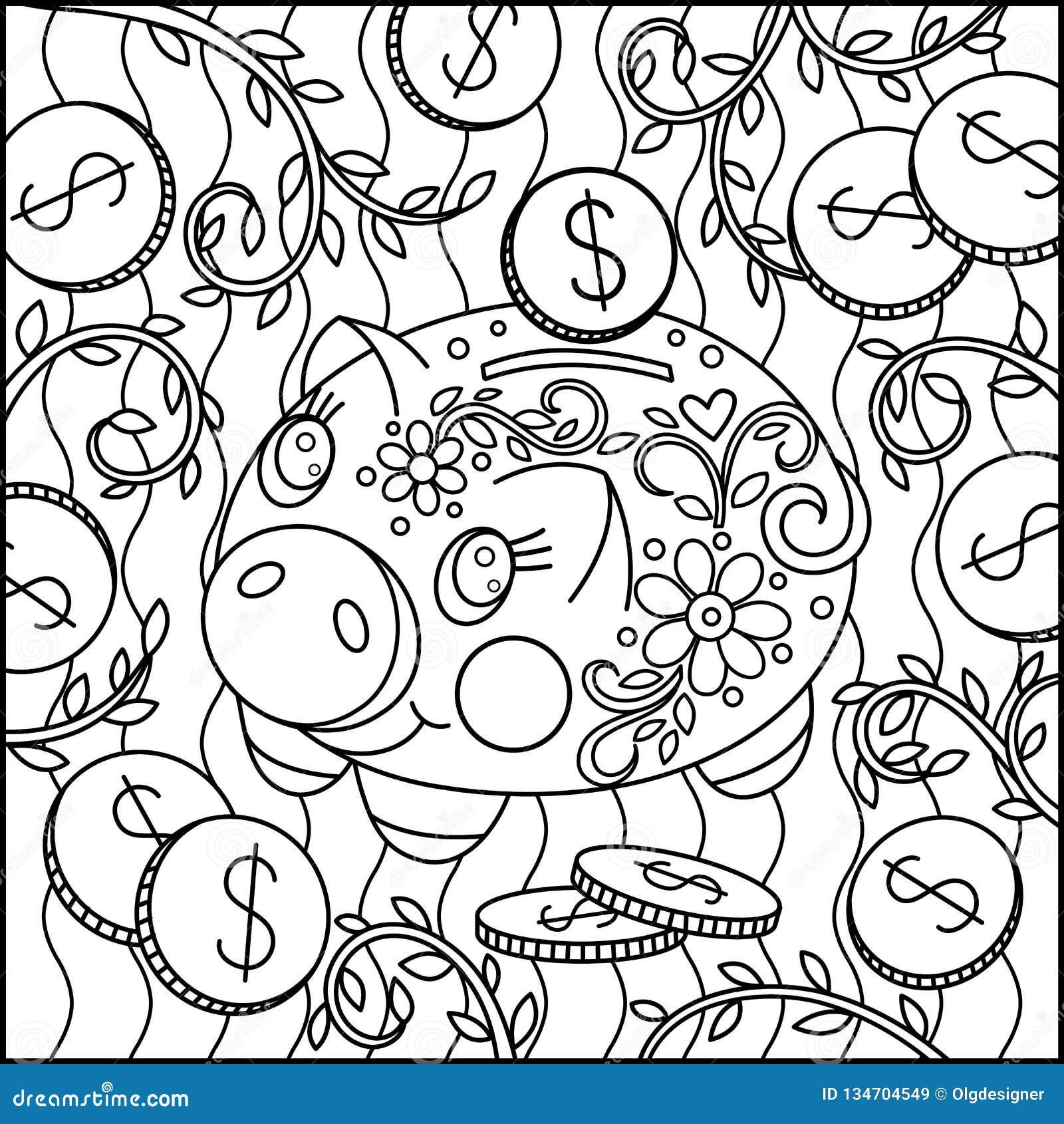 Creative Cartoon Cute Pig Coloring Page Stock Vector ...