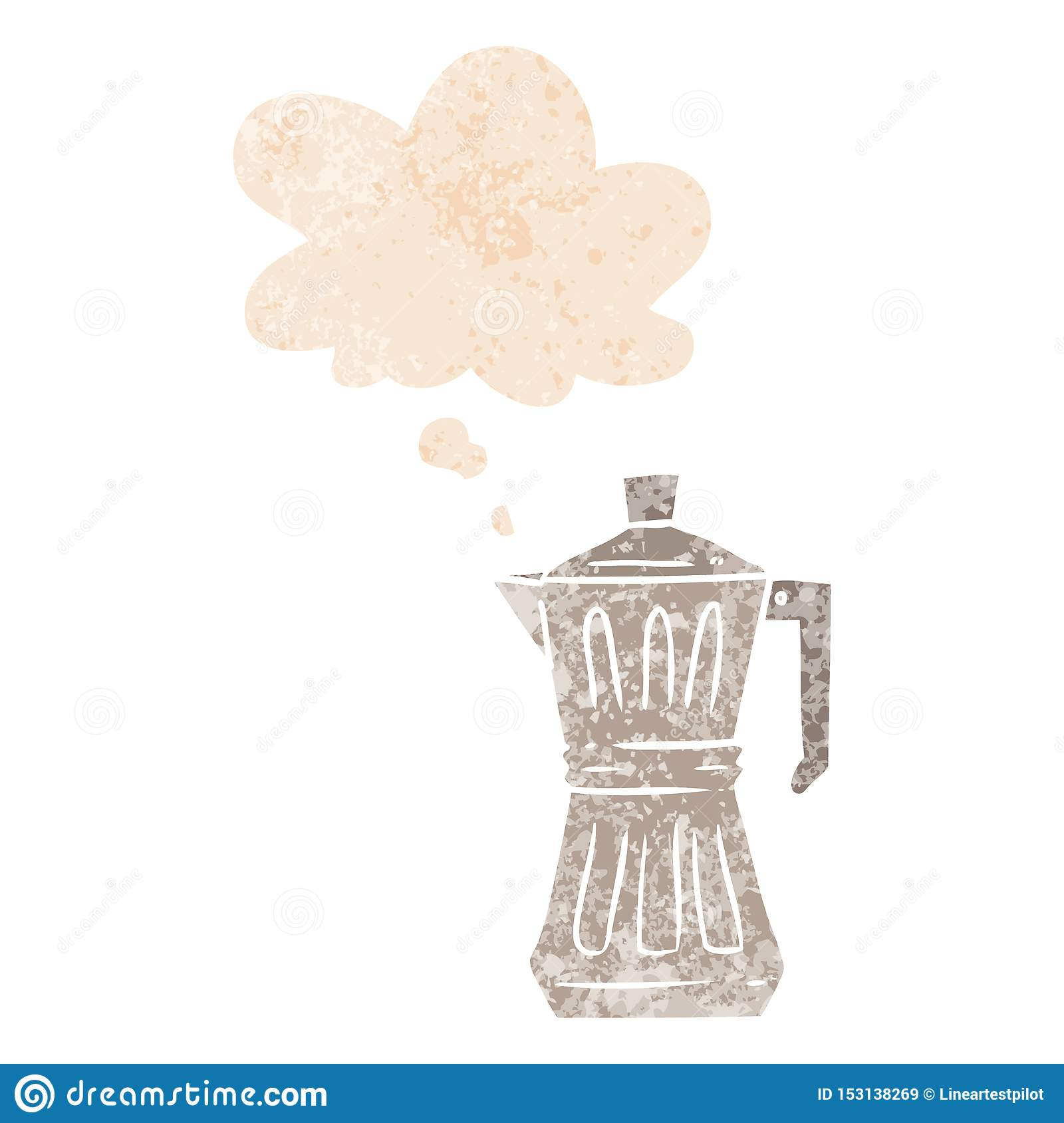 A creative cartoon espresso maker and thought bubble in retro textured style