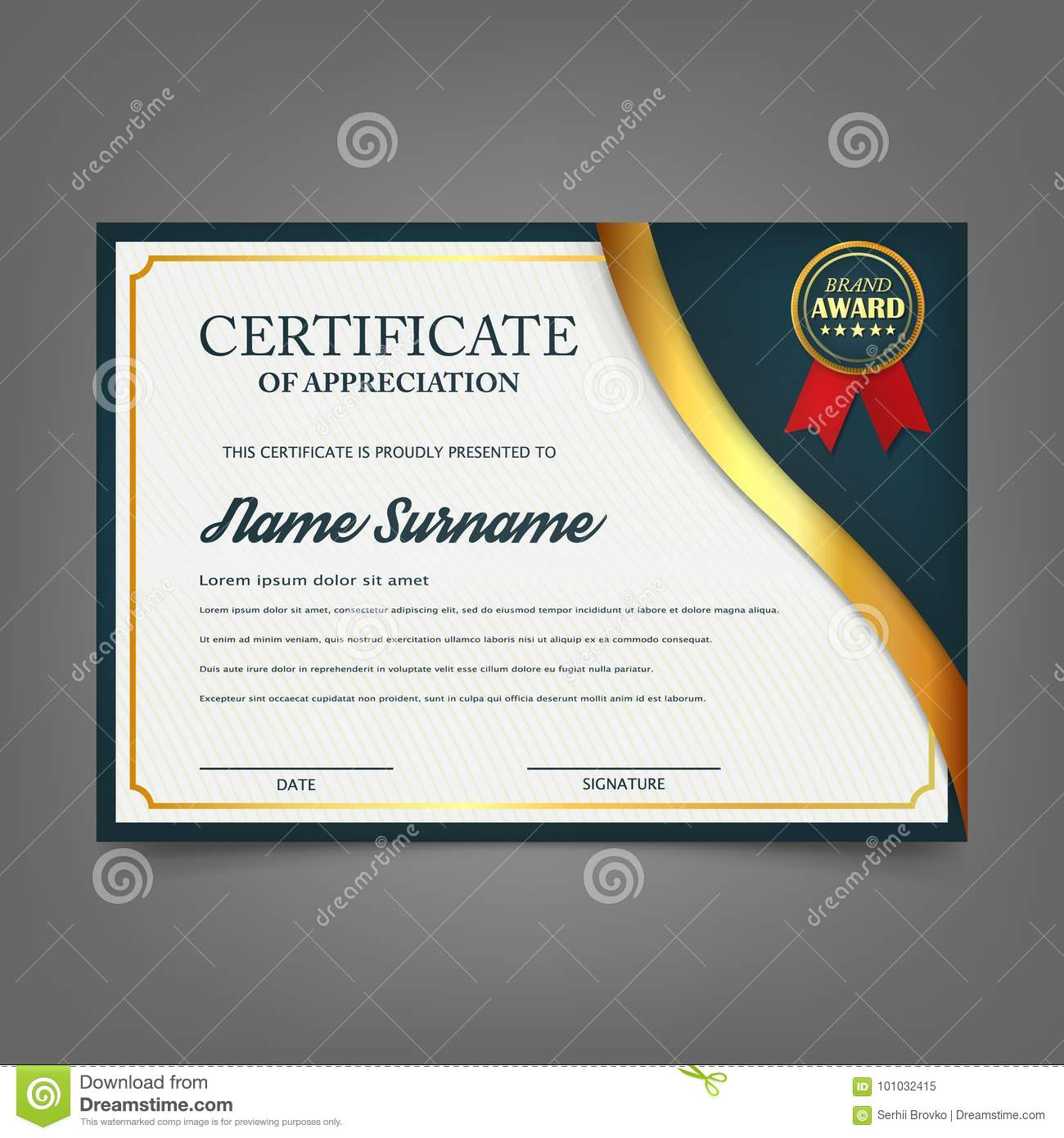 Creative Certificate Of Appreciation Award Template. Certificate Template  Design With Best Award Symbol And Blue And Golden Shapes  Creative Certificate Designs