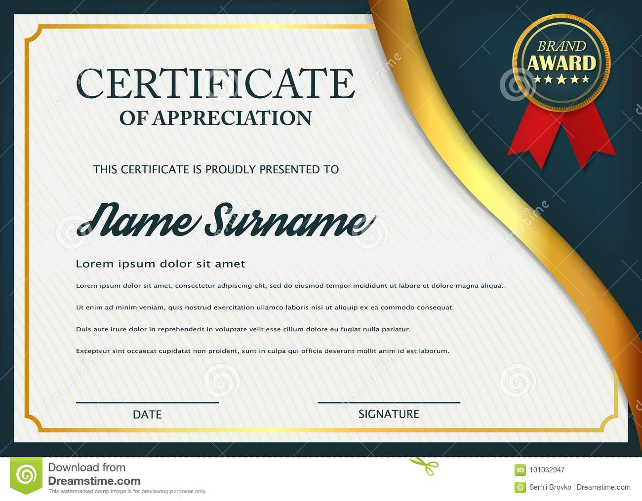 Creative certificate of appreciation award template certificate creative certificate of appreciation award template certificate template design with best award symbol and blue alramifo Choice Image
