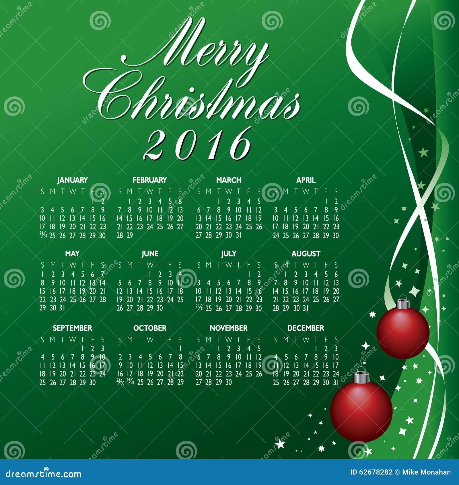 2016 Creative Christmas Calendar Stock Vector - Image: 62678282