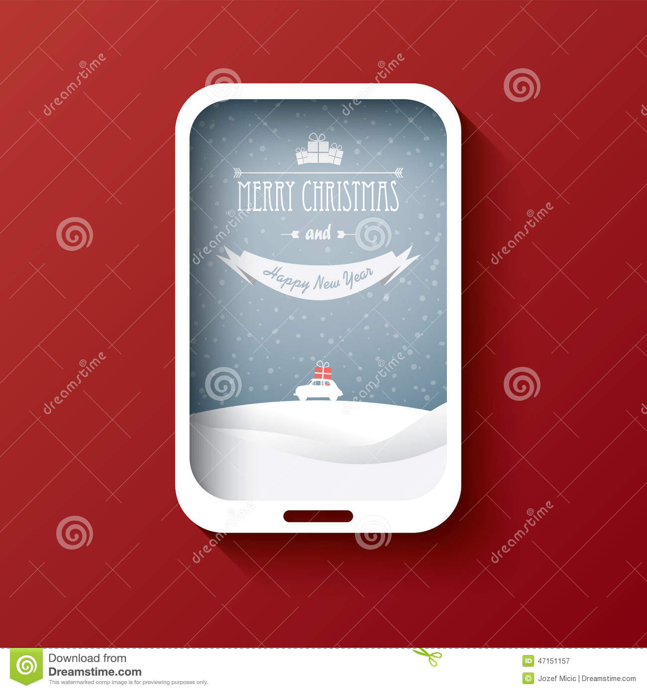 Creative Christmas Card Design With Smartphone And Stock Vector