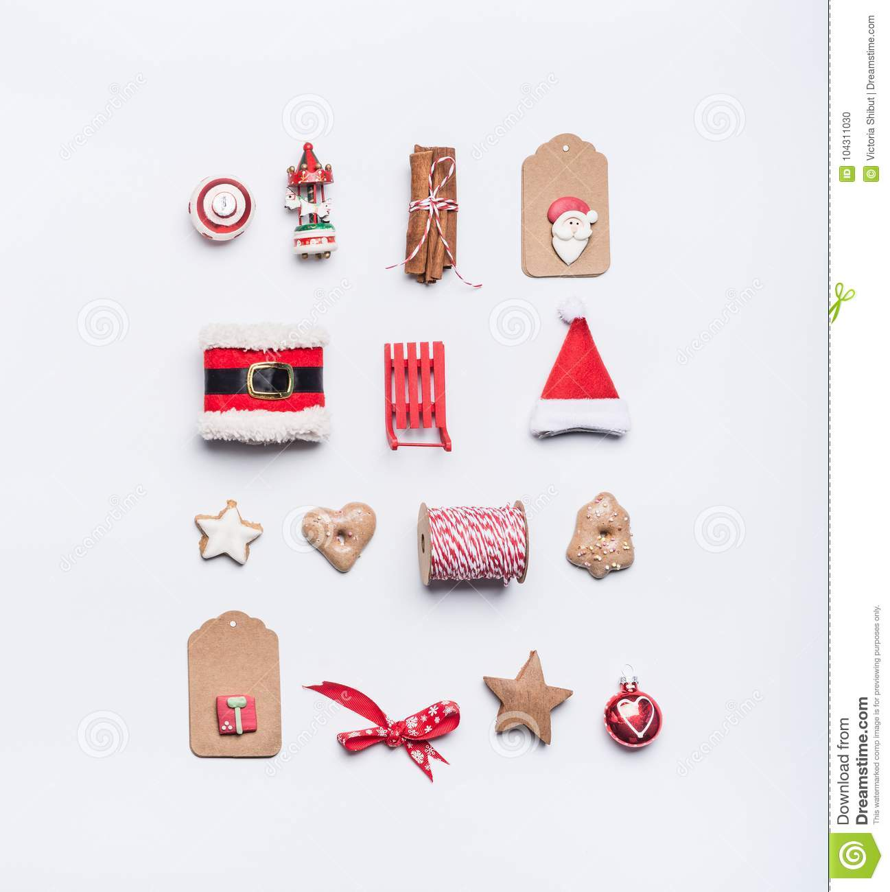 Creative Christmas Layout Made Of Craft Paper Tags Cookies Red