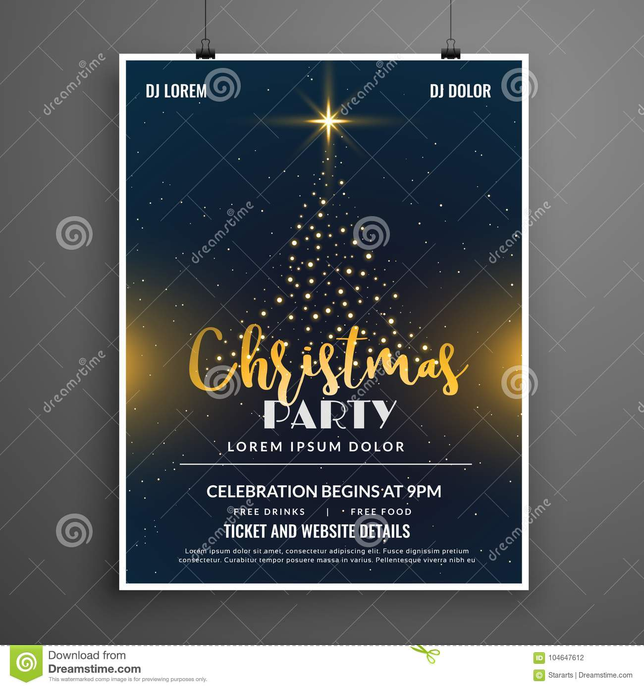 Creative Christmas Party Event Flyer Poster Design Template Stock