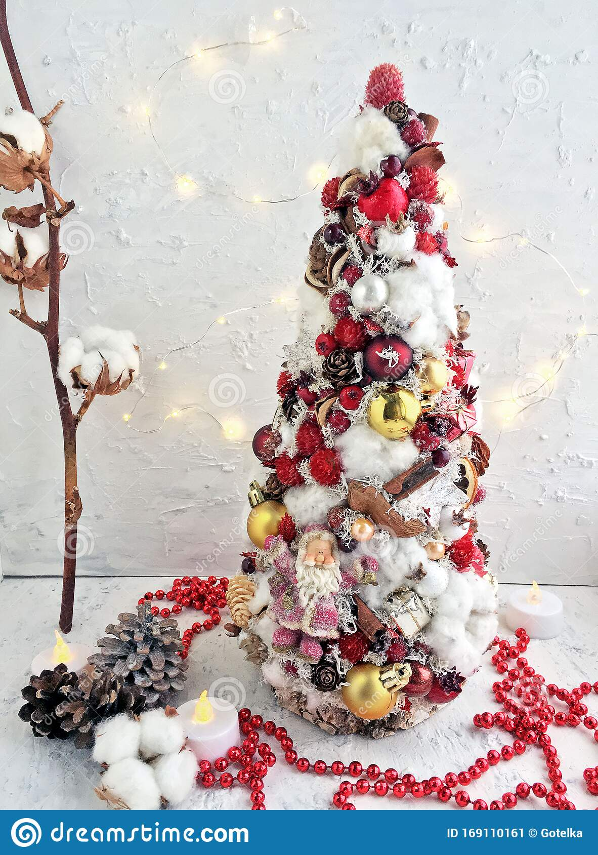 Creative Christmas Tree Handmade An Unusual Idea For A Holiday Home Decor White Red And Gold Christmas Tree Decor In Macro Stock Image Image Of Homemade Idea 169110161