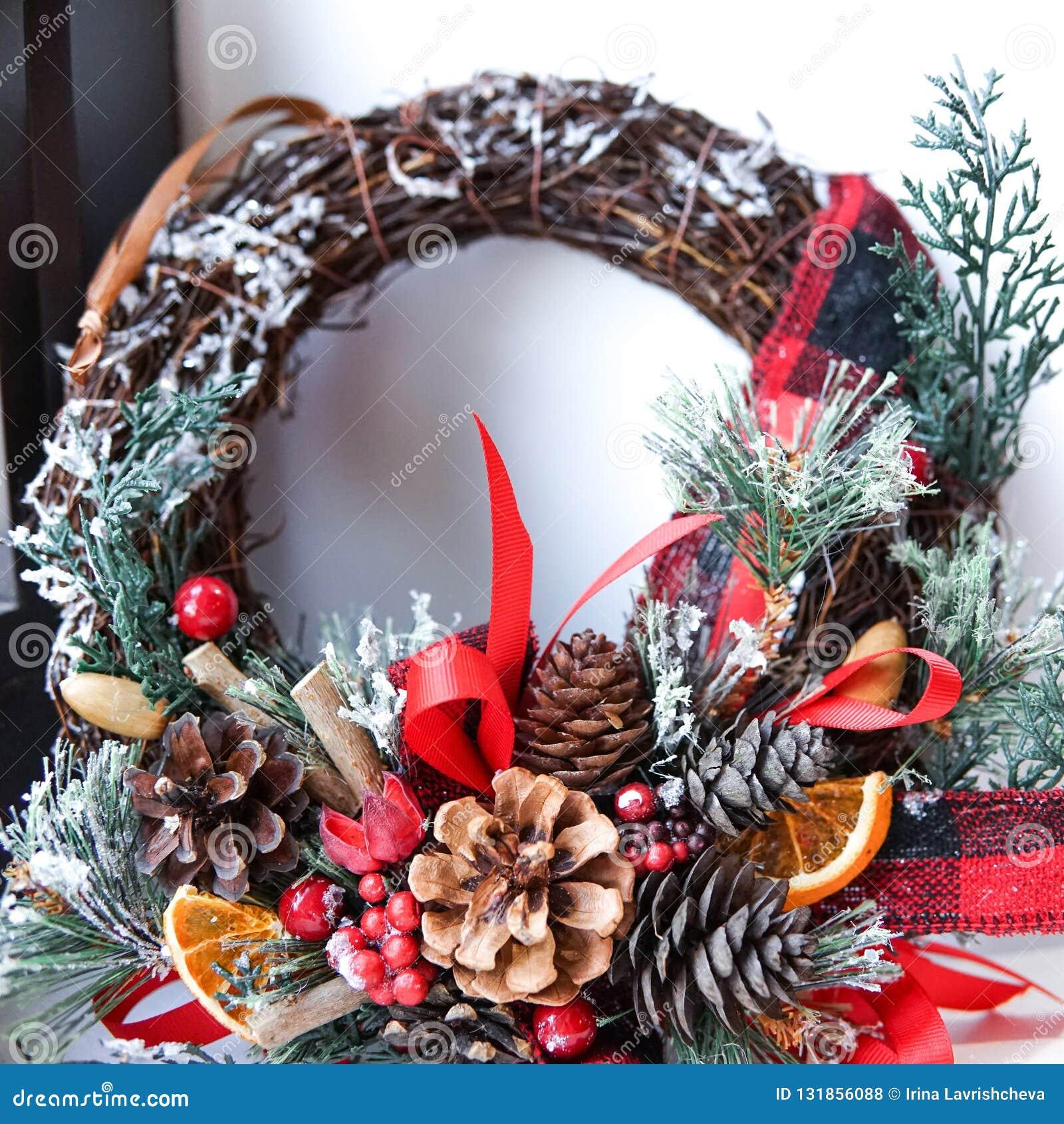 Creative Christmas Wreath An Unusual Idea For A Holiday Home De Stock Photo Image Of Handmade Green 131856088