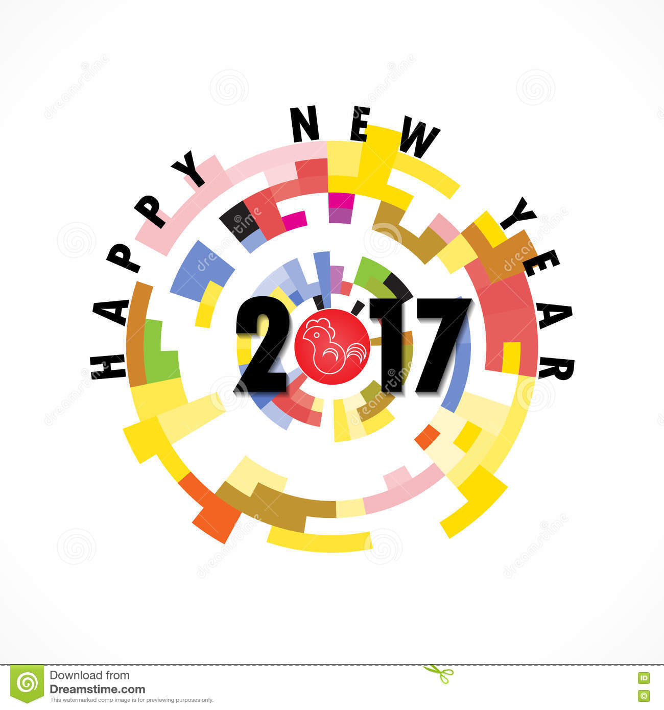 creative circle abstract vector logo design templatehappy new year 2017 holiday background2017 happy new year greeting cardvector illustration