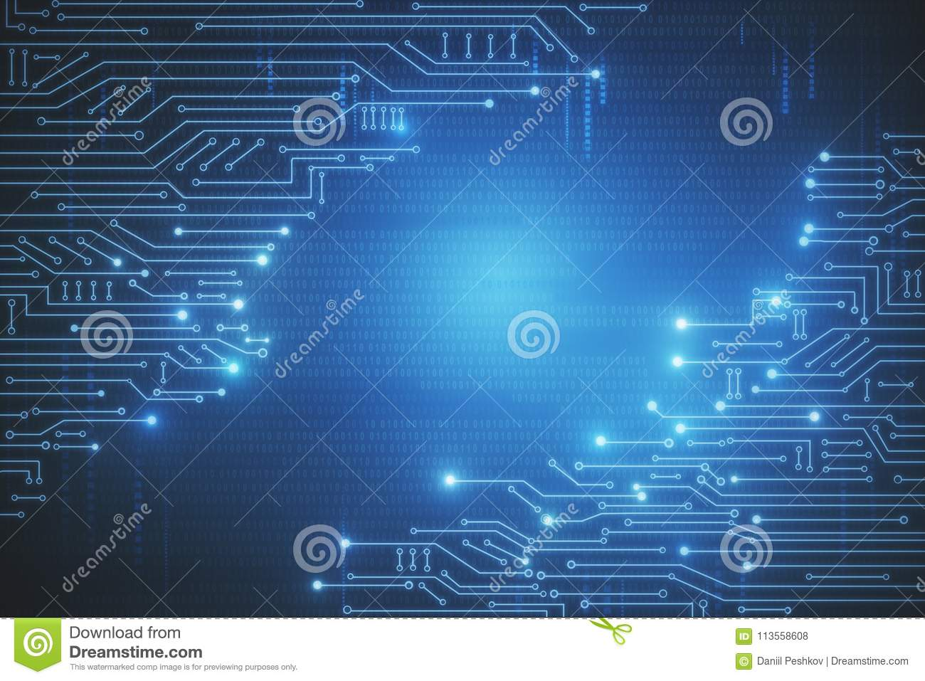 Creative circuit wallpaper stock illustration. Illustration of blue on