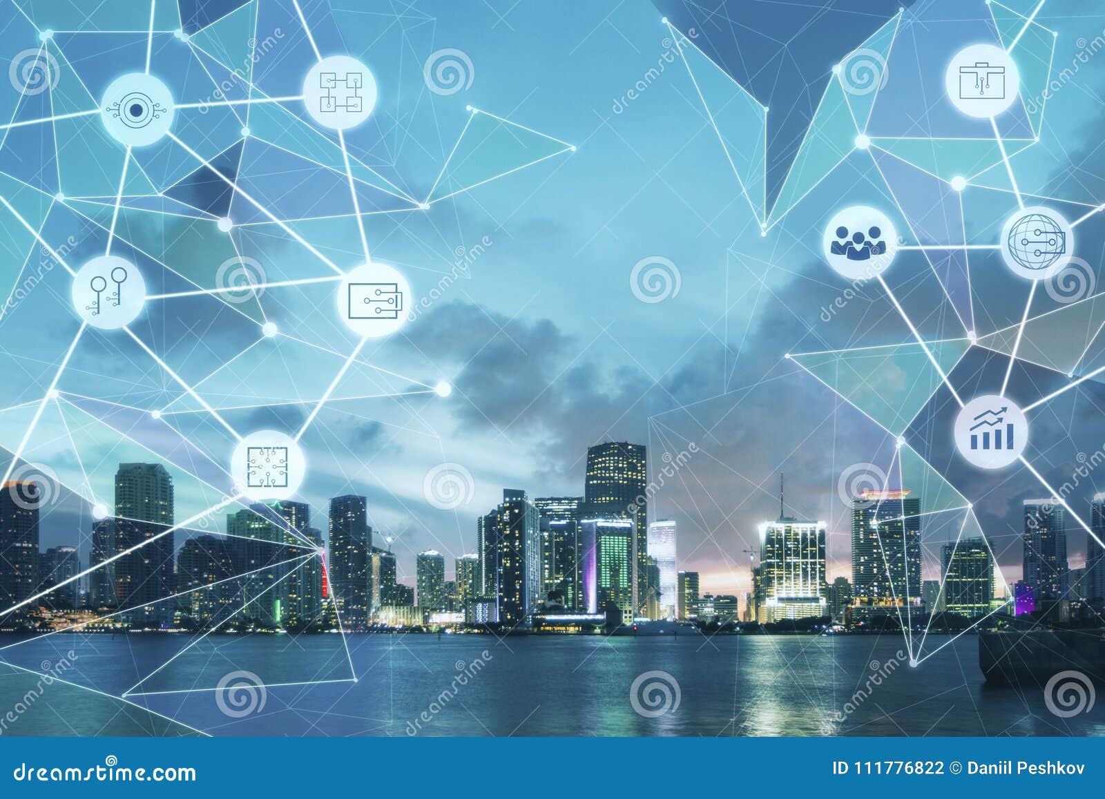 Creative tech city background