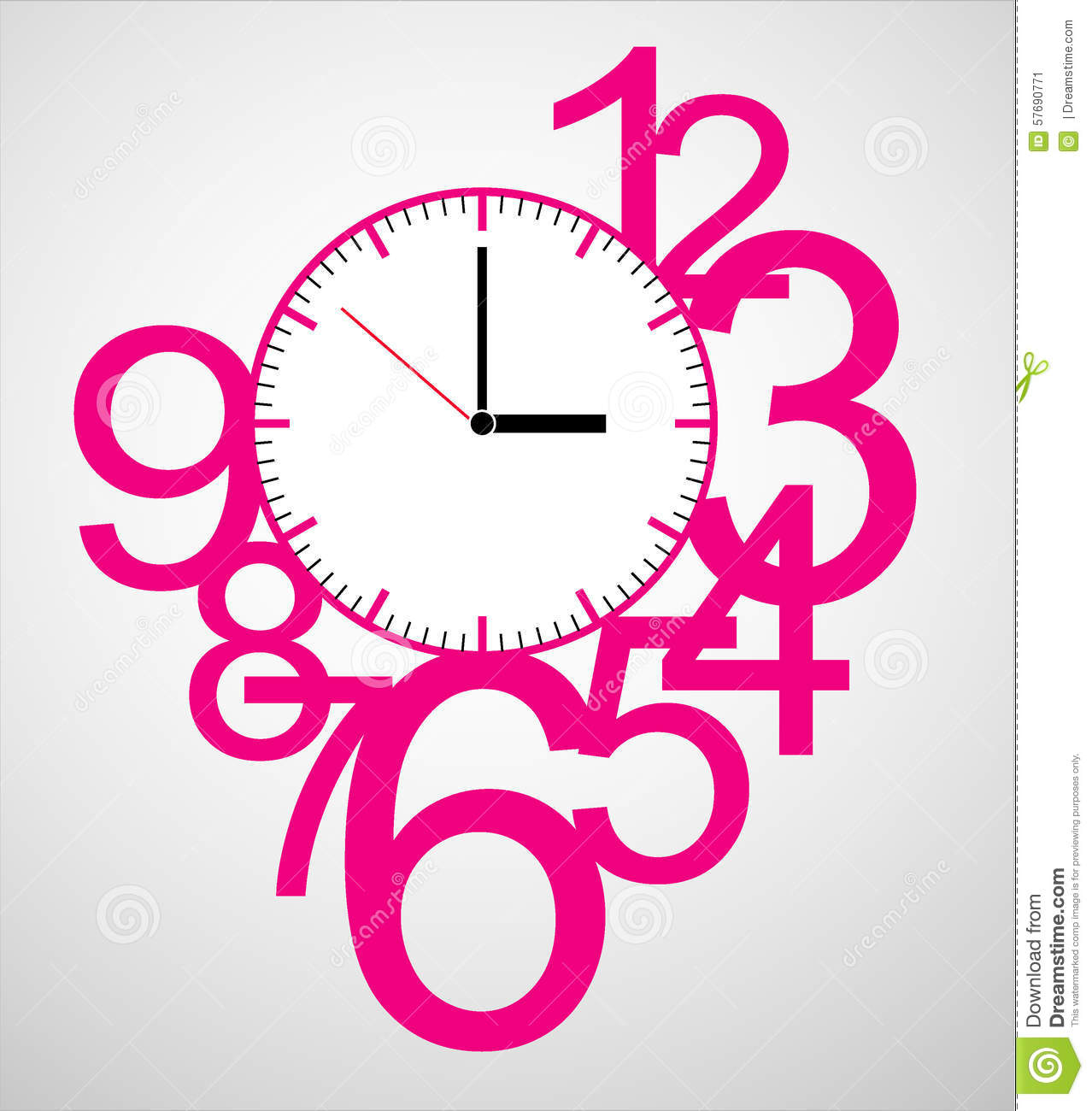 Creative clock face design stock vector illustration for Blueprint number