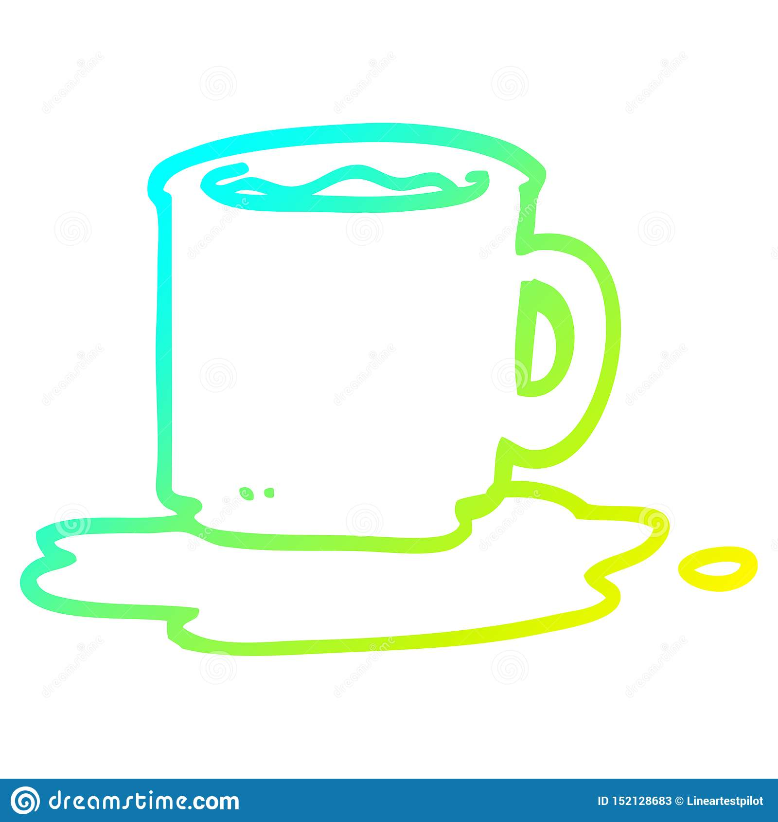 A Creative Cold Gradient Line Drawing Cartoon Mug Of Coffee Stock Vector Illustration Of Line Doodle 152128683
