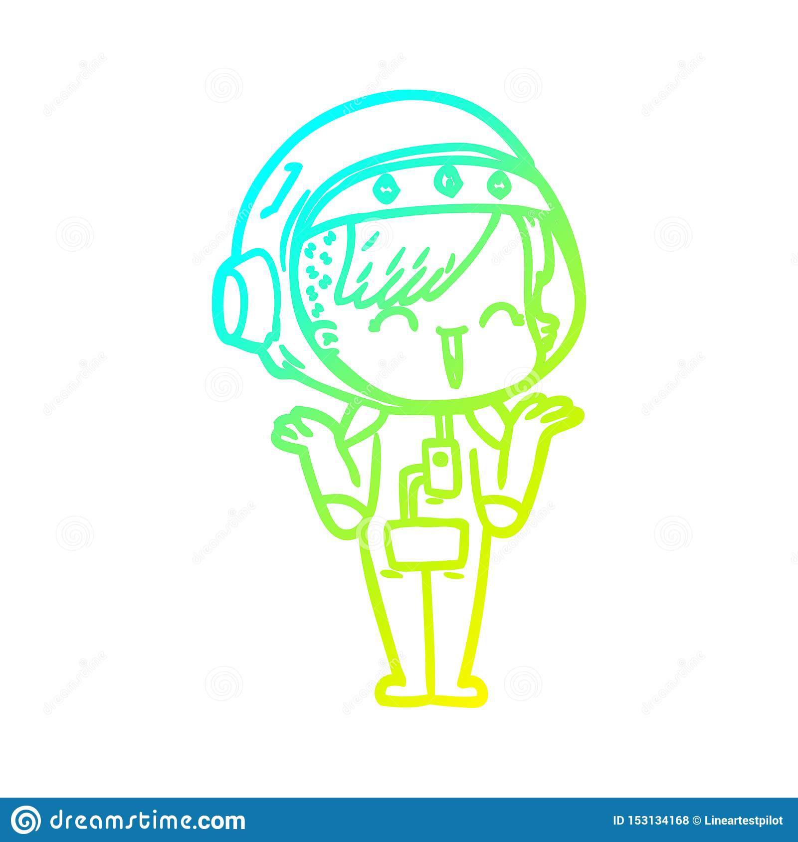 A Creative Cold Gradient Line Drawing Happy Cartoon Space Girl