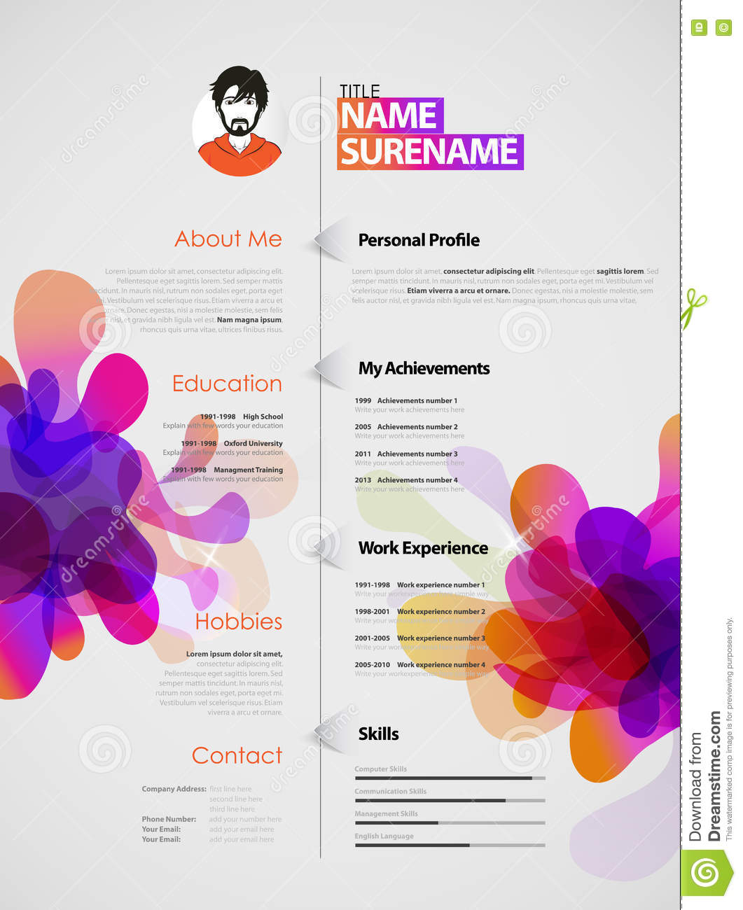 Creative Color Rich CV Resume Template With Colorful Abstract Splash