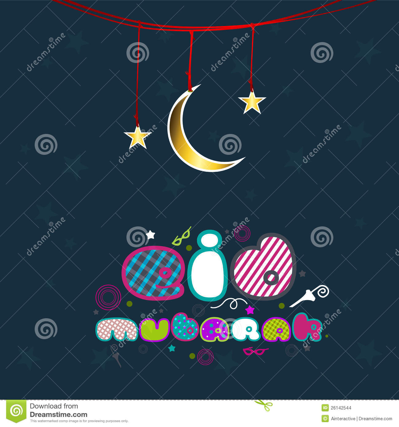 Creative Colorful Text Eid Ramadan Moon Clipart