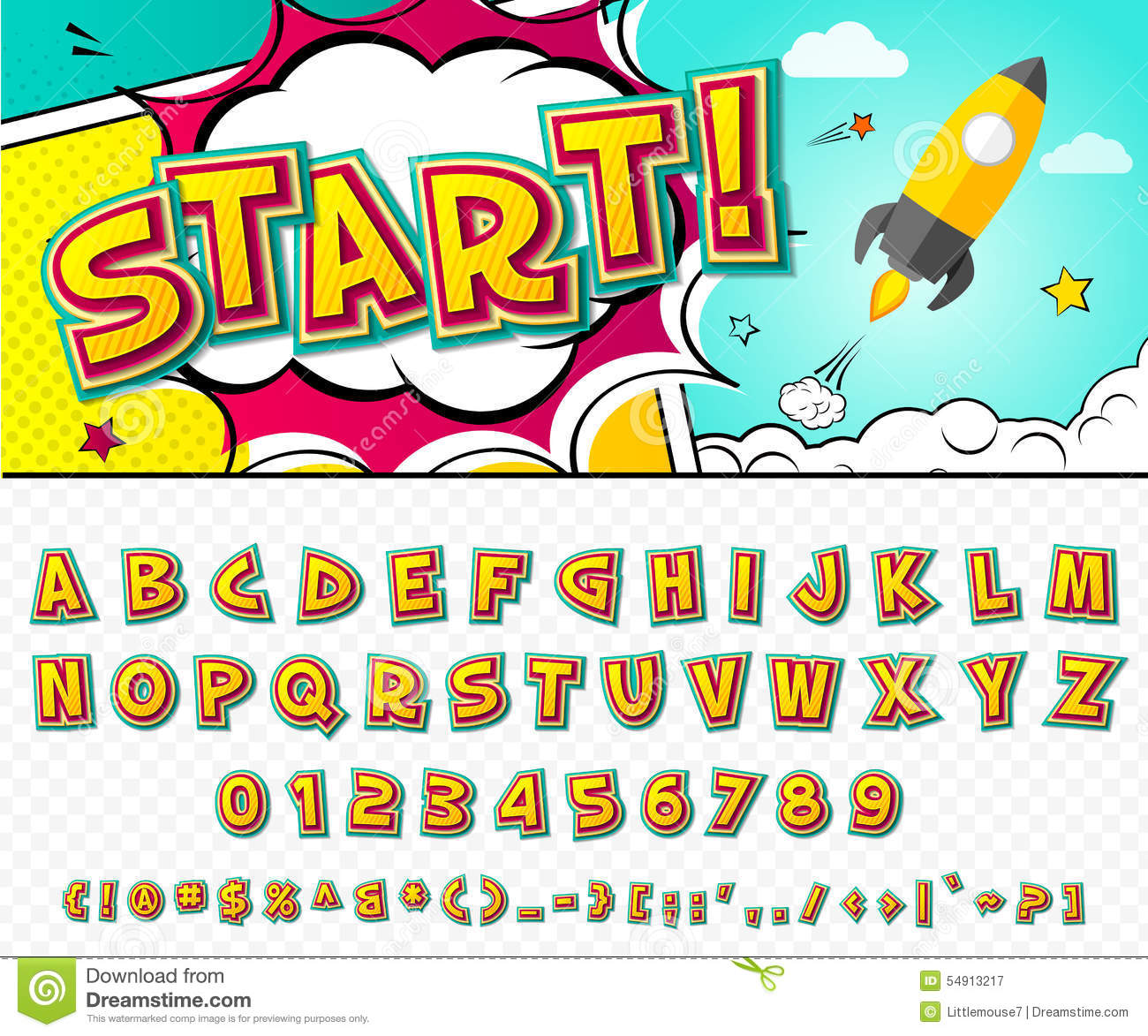 Top Creative Comic Font. Vector Alphabet In Style Pop Art Stock Vector  KW91