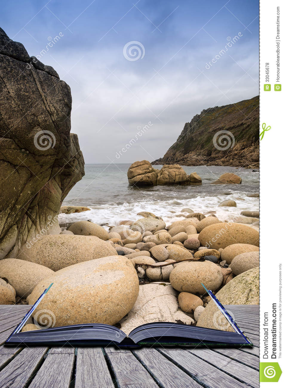 Creative concept pages of book Beautiful landscape of Porth Nanven beach Cornwall England.