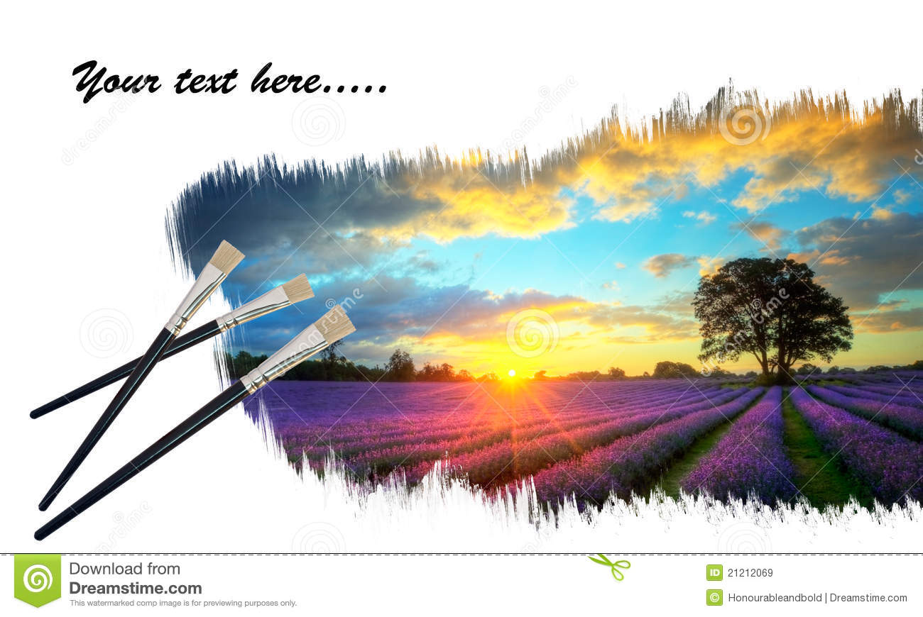 Creative concept of painting lavender sunset