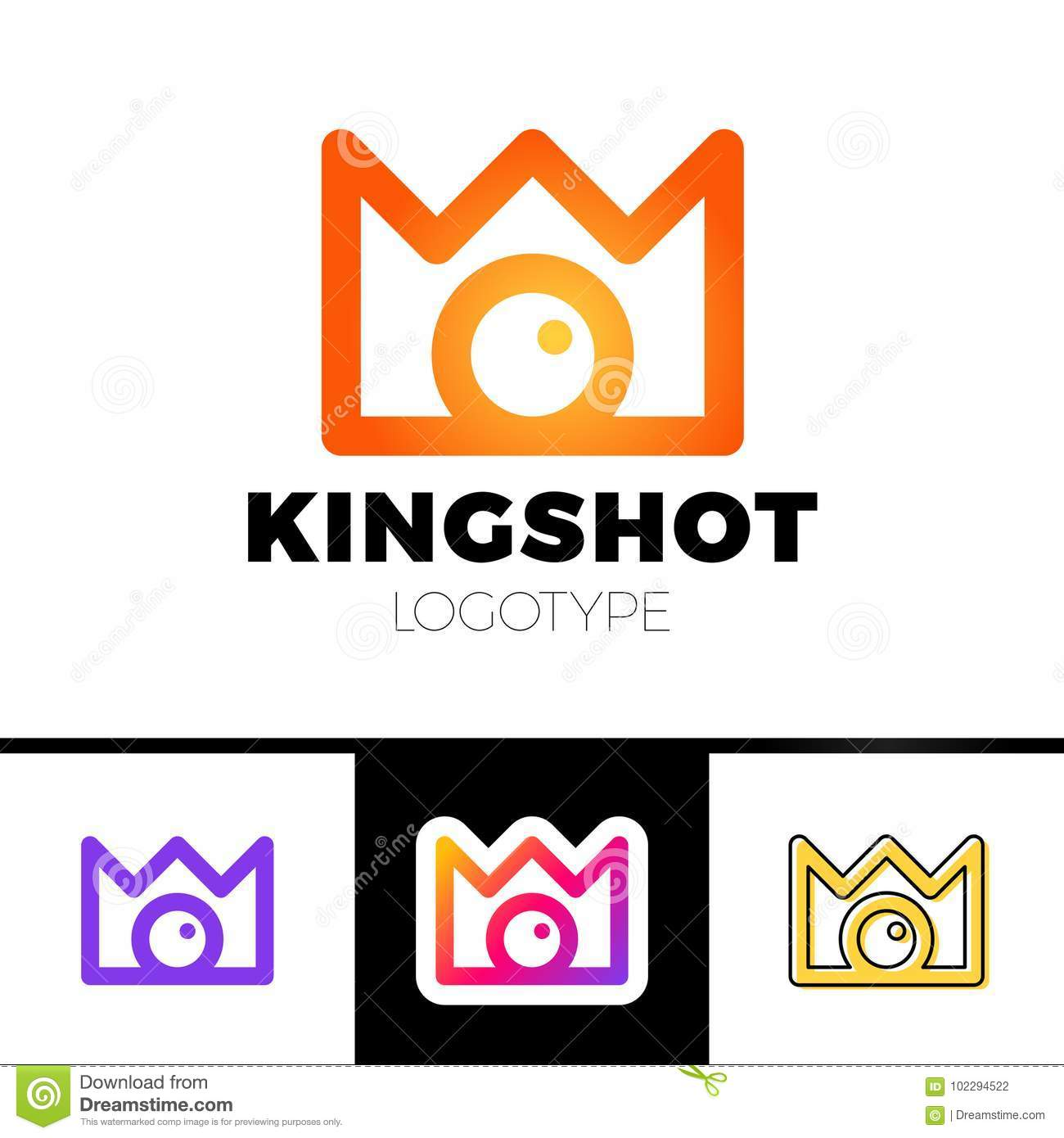 Creative concept for photography studio. Modern logo design layout with camera and crown. Corporate symbol idea.