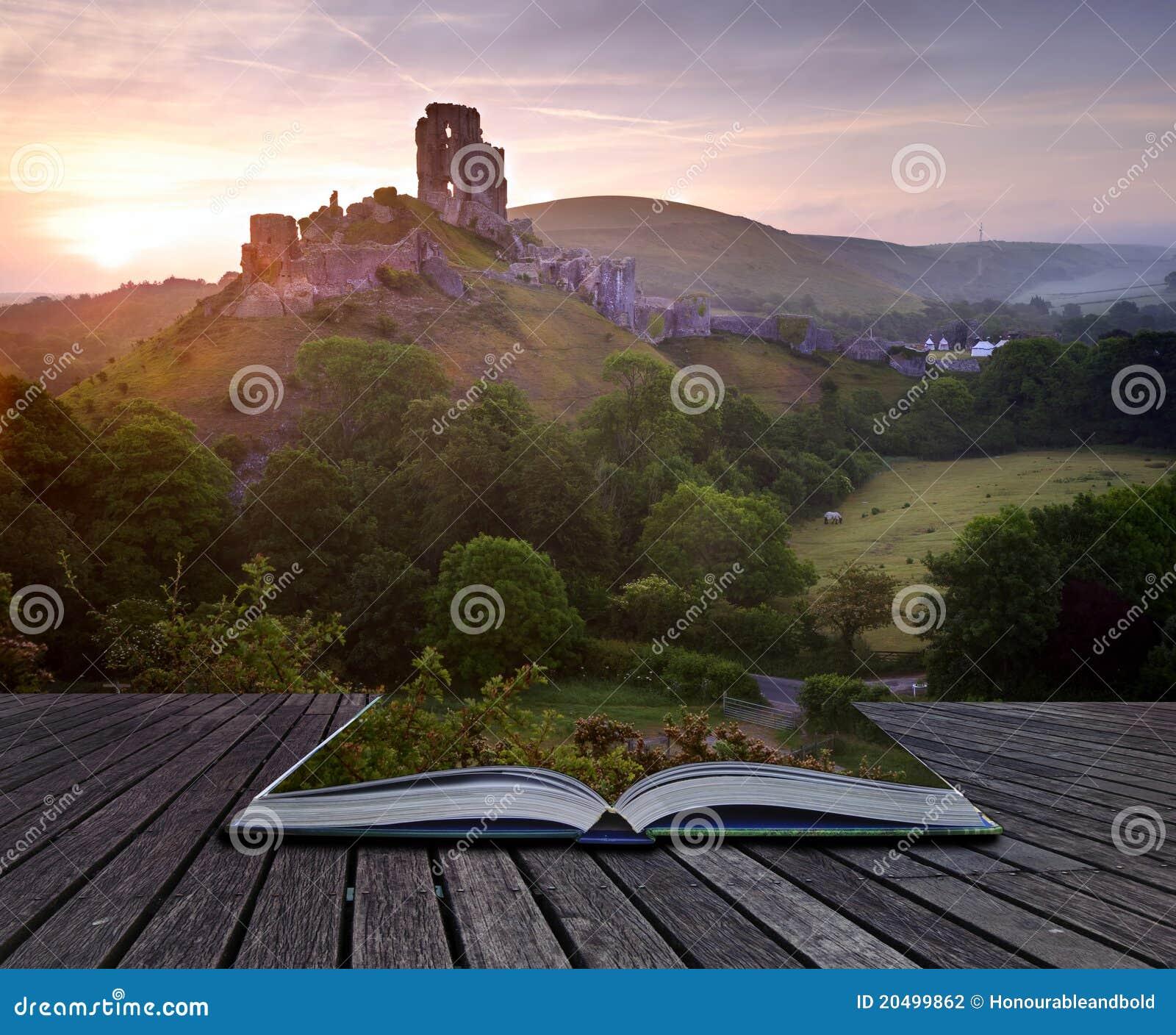 Creative concept of romantic castle landscape