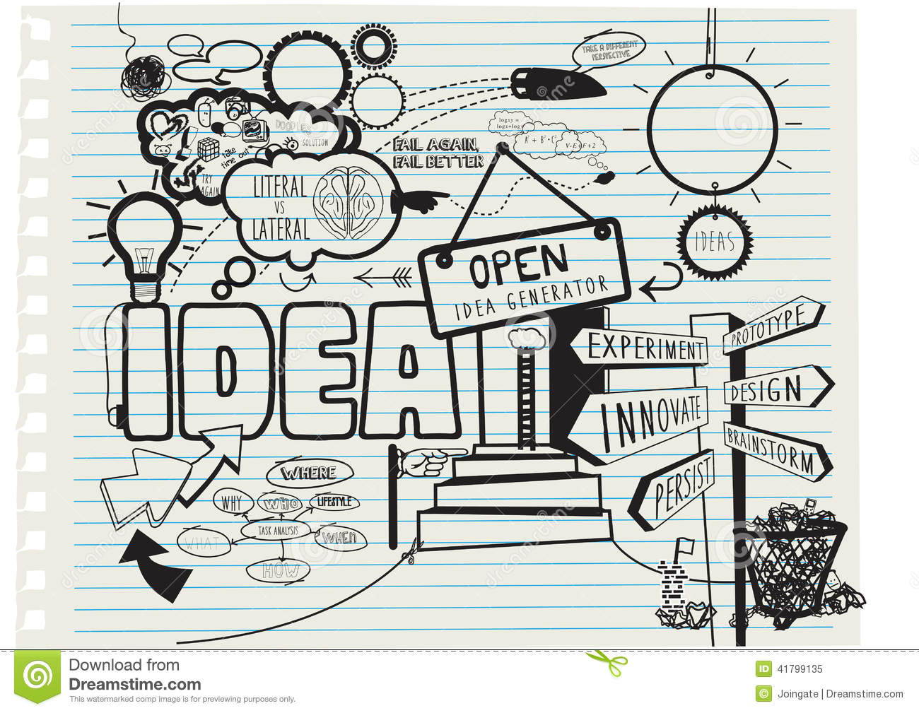 Creative Concept For The Theme Of New Ideas Hand Drawn Stock