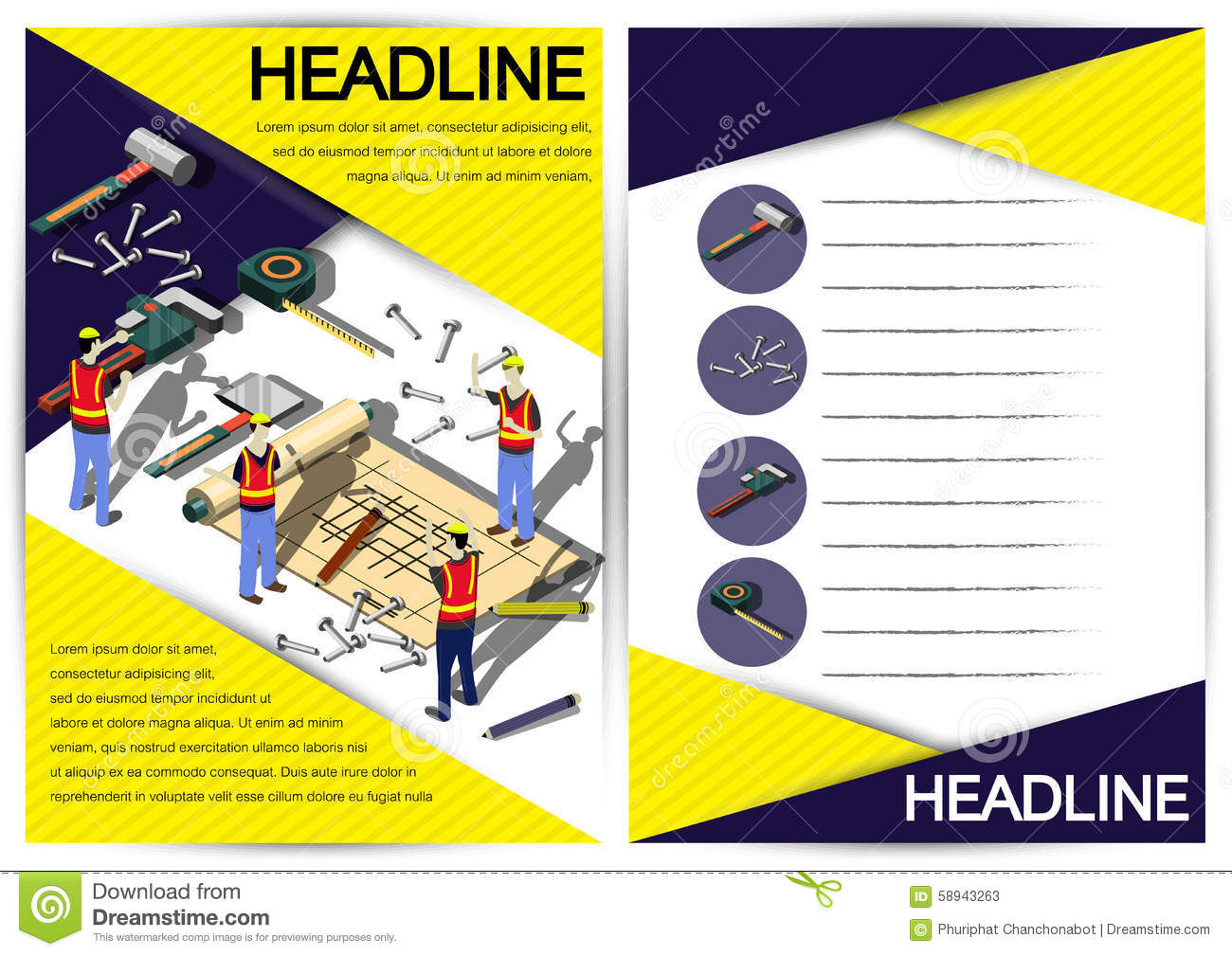 creative construction template flyer brochure vector paper design