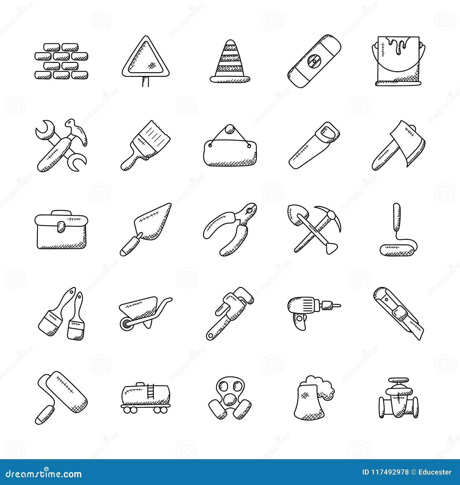 Construction Tools Icons Set Stock Illustration
