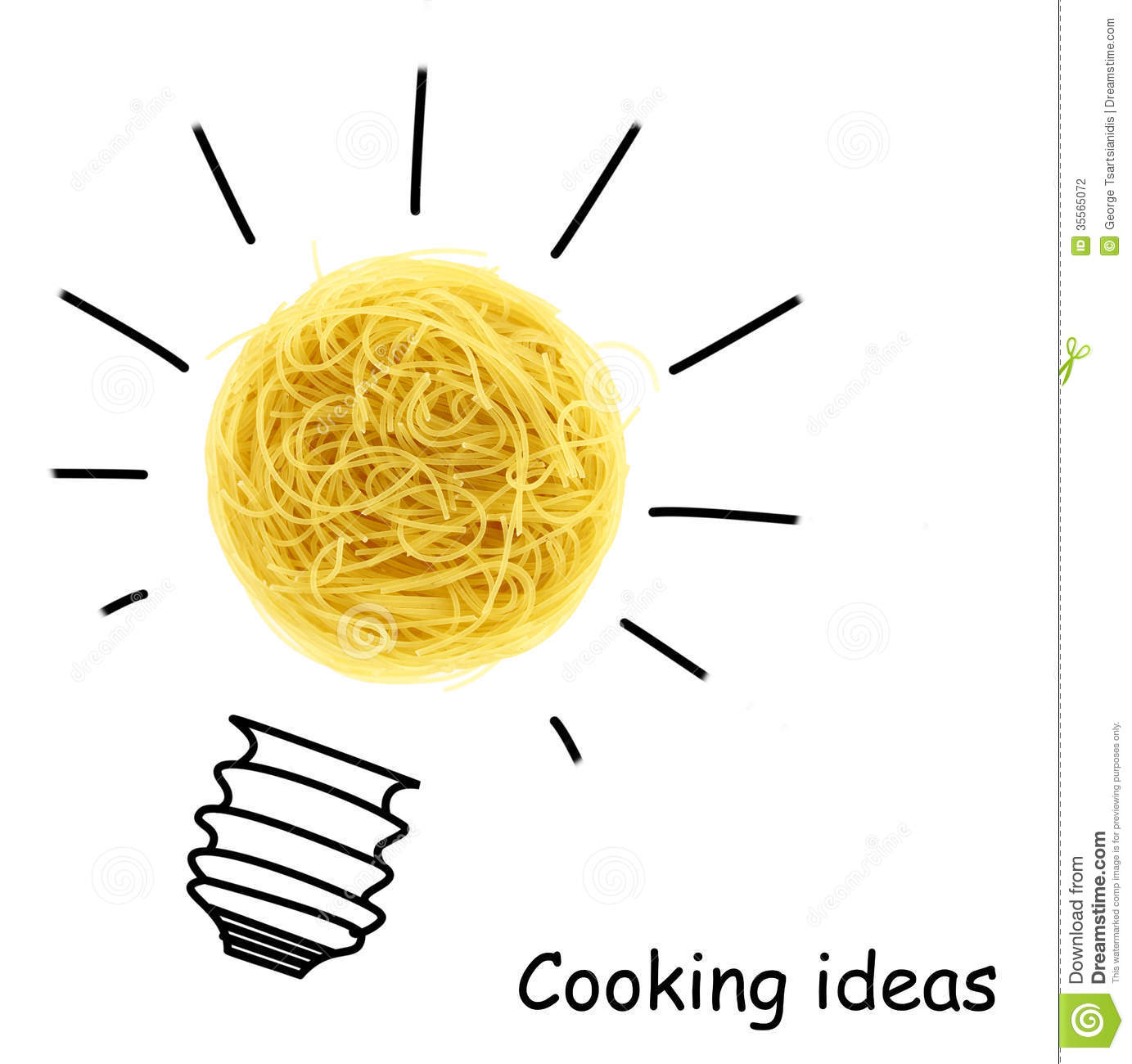 Creative cooking ideas, pasta with bulb drawing