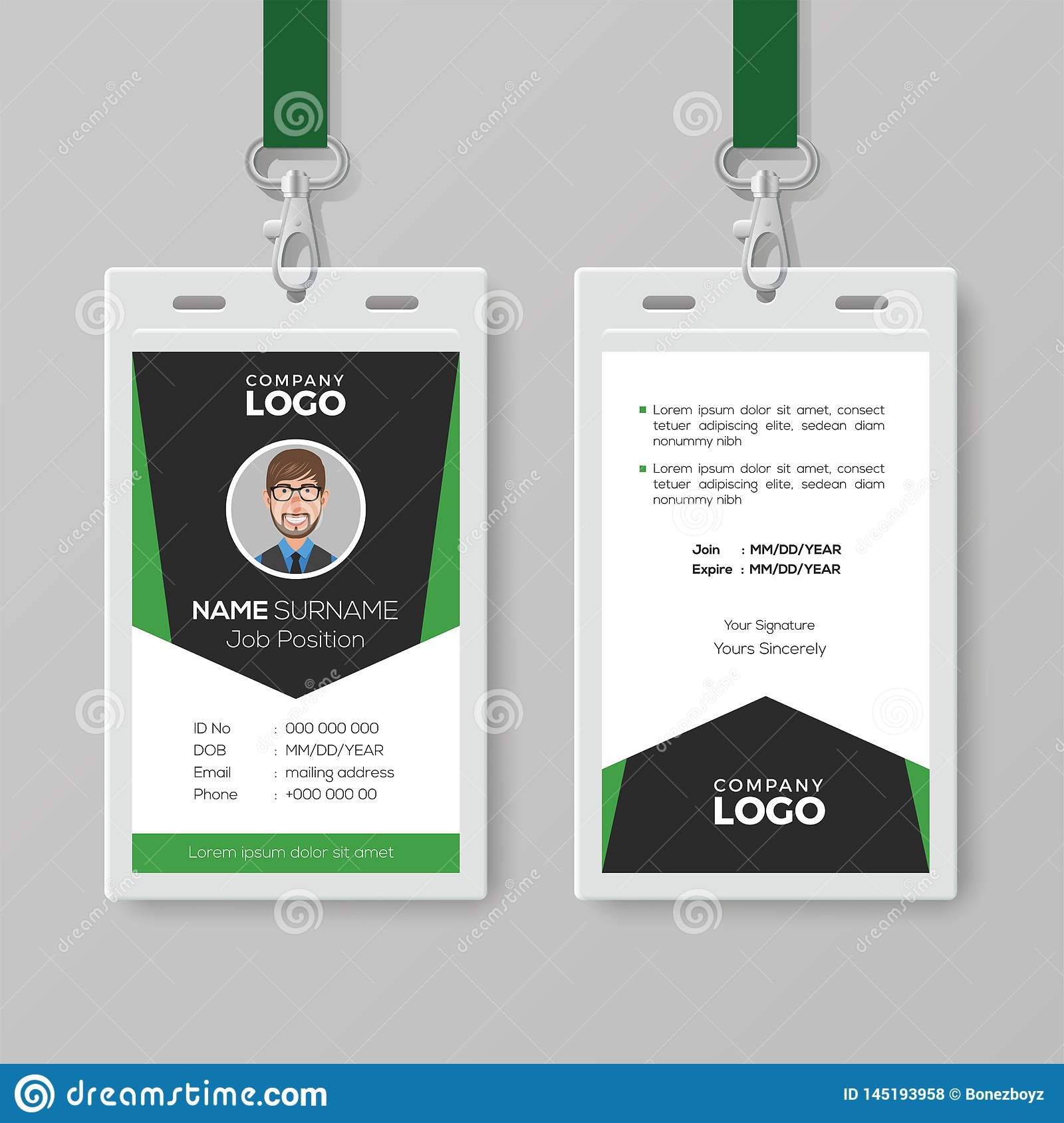 Creative Corporate Id Card Template With Green Details Stock Vector Illustration Of Corporate Contact 145193958